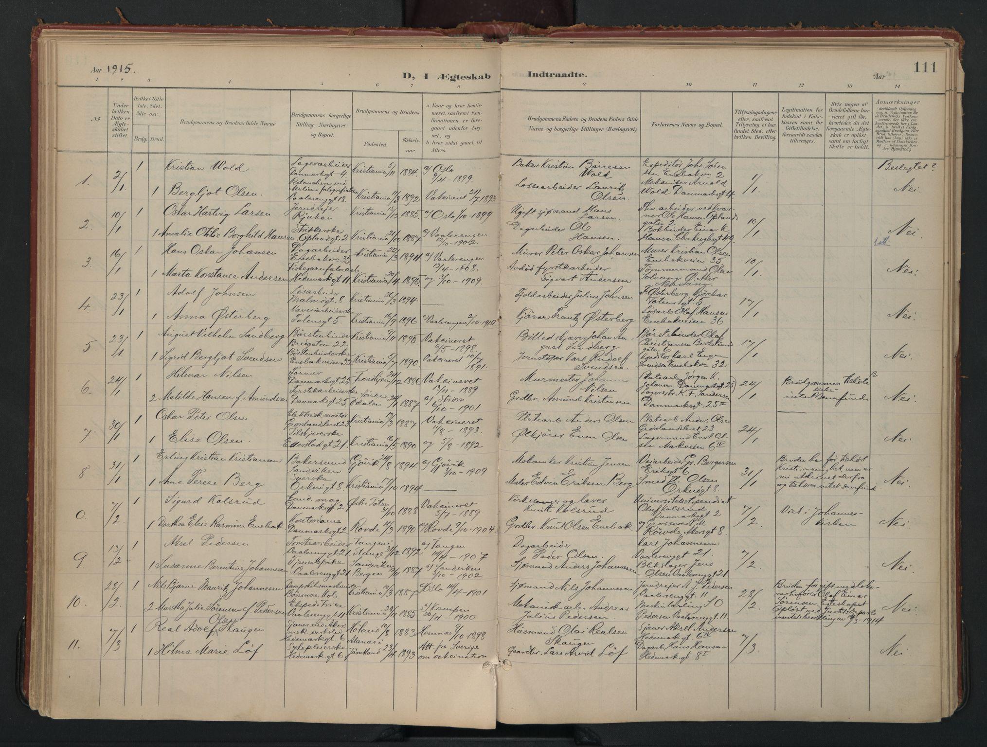 SAO, Vålerengen prestekontor Kirkebøker, F/Fa/L0002: Ministerialbok nr. 2, 1899-1924, s. 111