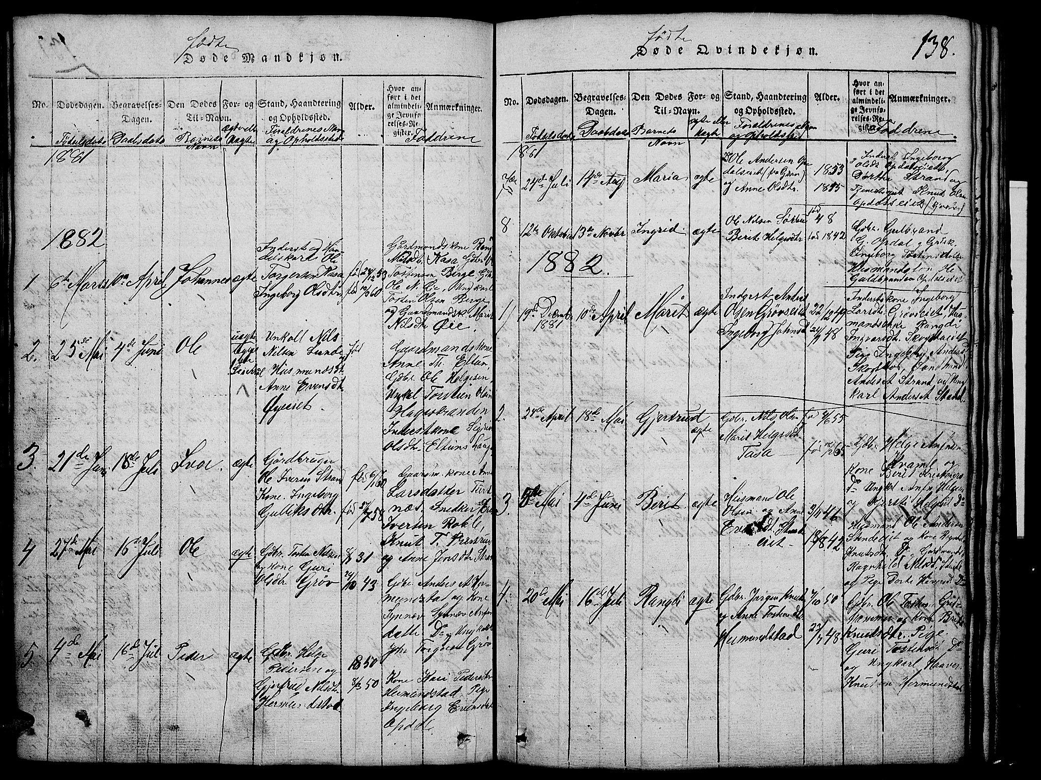SAH, Vang prestekontor, Valdres, Klokkerbok nr. 2, 1814-1889, s. 138