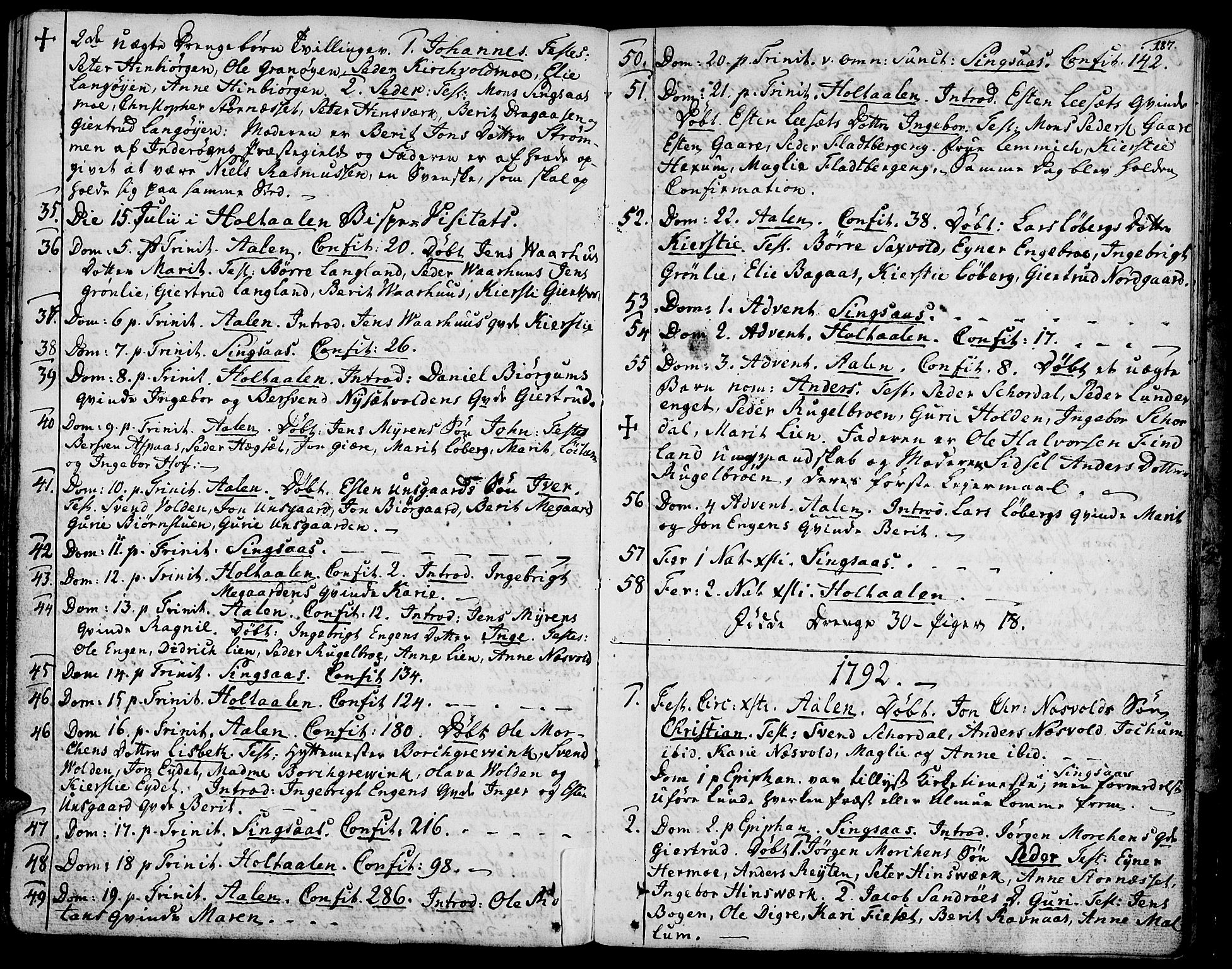SAT, Ministerialprotokoller, klokkerbøker og fødselsregistre - Sør-Trøndelag, 685/L0952: Ministerialbok nr. 685A01, 1745-1804, s. 187
