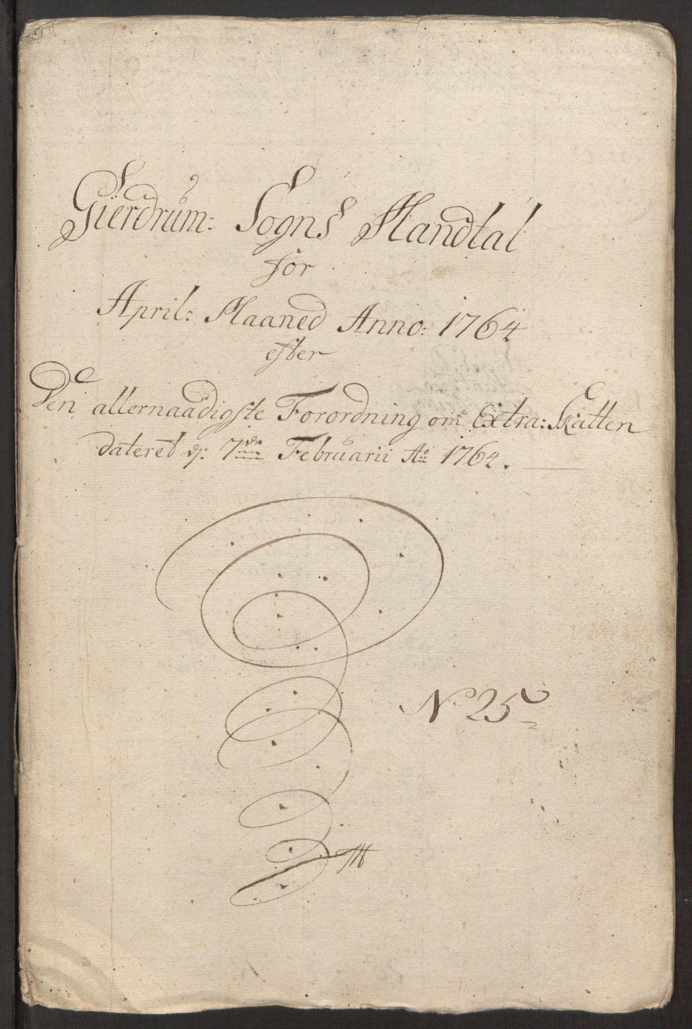 RA, Rentekammeret inntil 1814, Reviderte regnskaper, Fogderegnskap, R12/L0803: Ekstraskatten Øvre Romerike, 1763-1764, s. 487