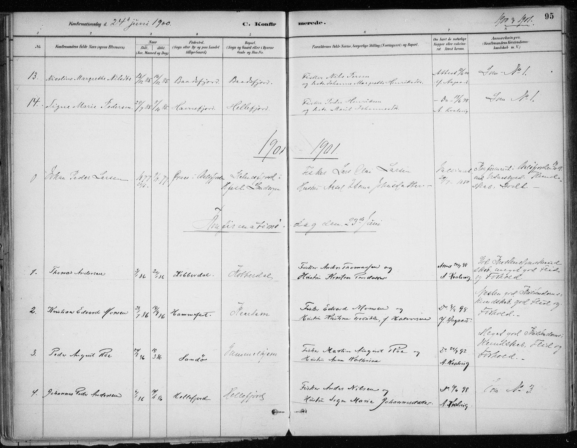 SATØ, Hammerfest sokneprestkontor, H/Ha/L0013.kirke: Ministerialbok nr. 13, 1898-1917, s. 95