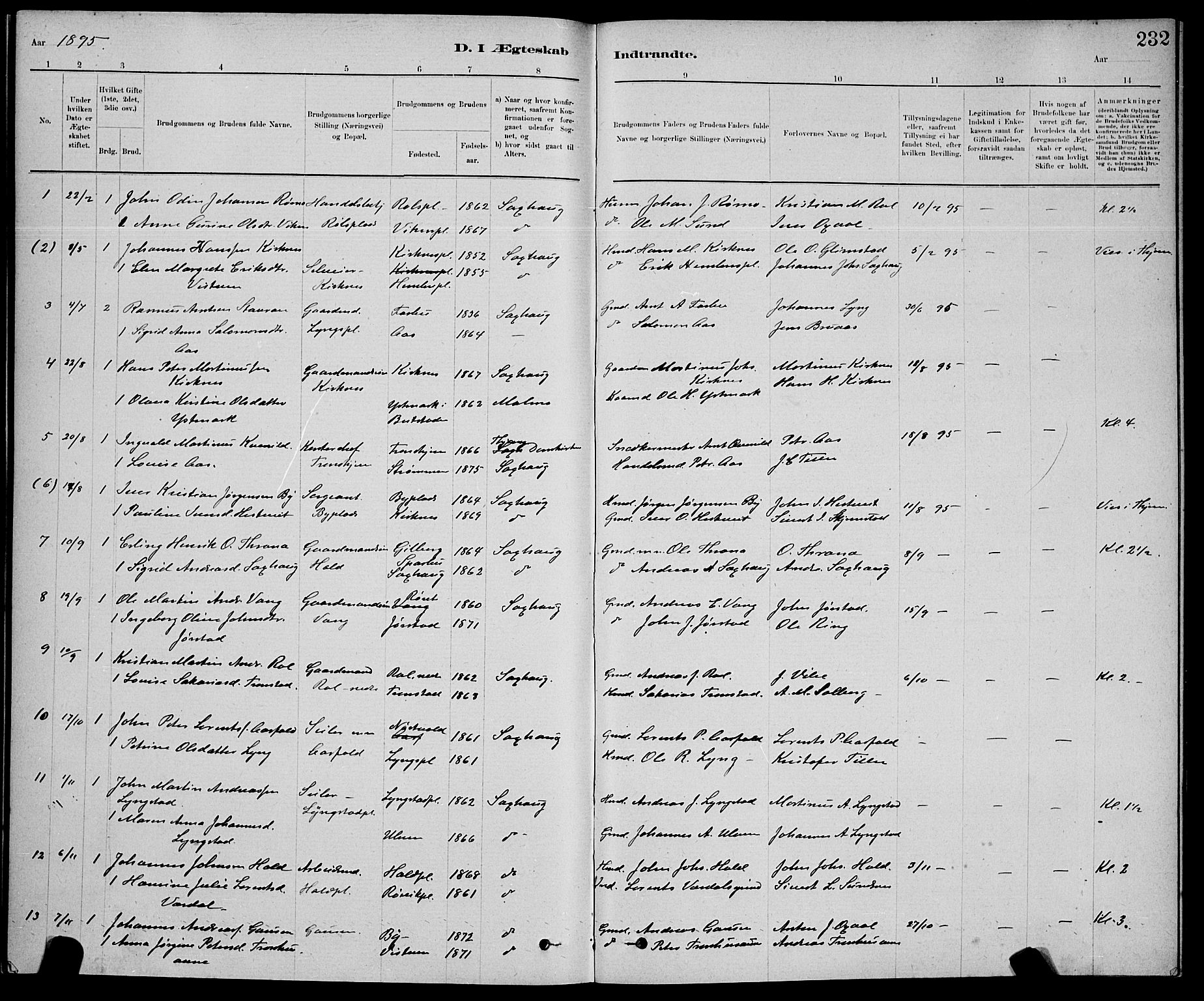 SAT, Ministerialprotokoller, klokkerbøker og fødselsregistre - Nord-Trøndelag, 730/L0301: Klokkerbok nr. 730C04, 1880-1897, s. 232