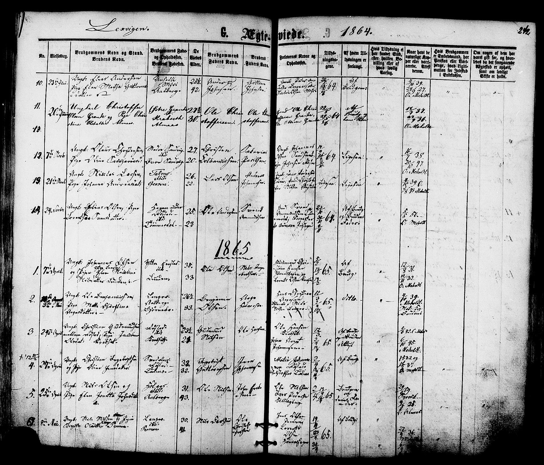 SAT, Ministerialprotokoller, klokkerbøker og fødselsregistre - Nord-Trøndelag, 701/L0009: Ministerialbok nr. 701A09 /1, 1864-1882, s. 242