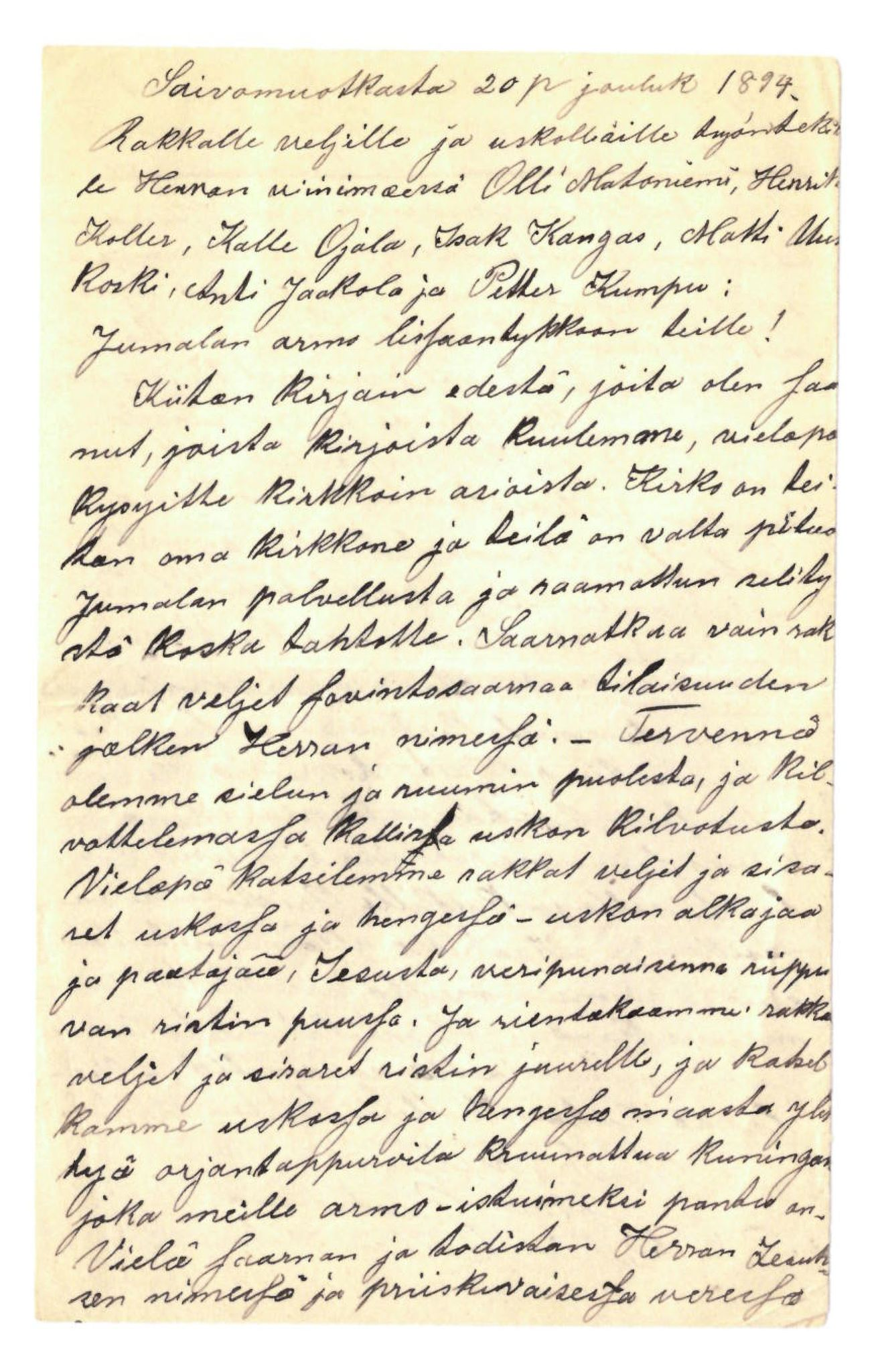 FMFB, Elise Balos brevsamling, F/Fa/L0010: Brev fra Johan Raattamaa til Olli Matoniemi et al., 1894