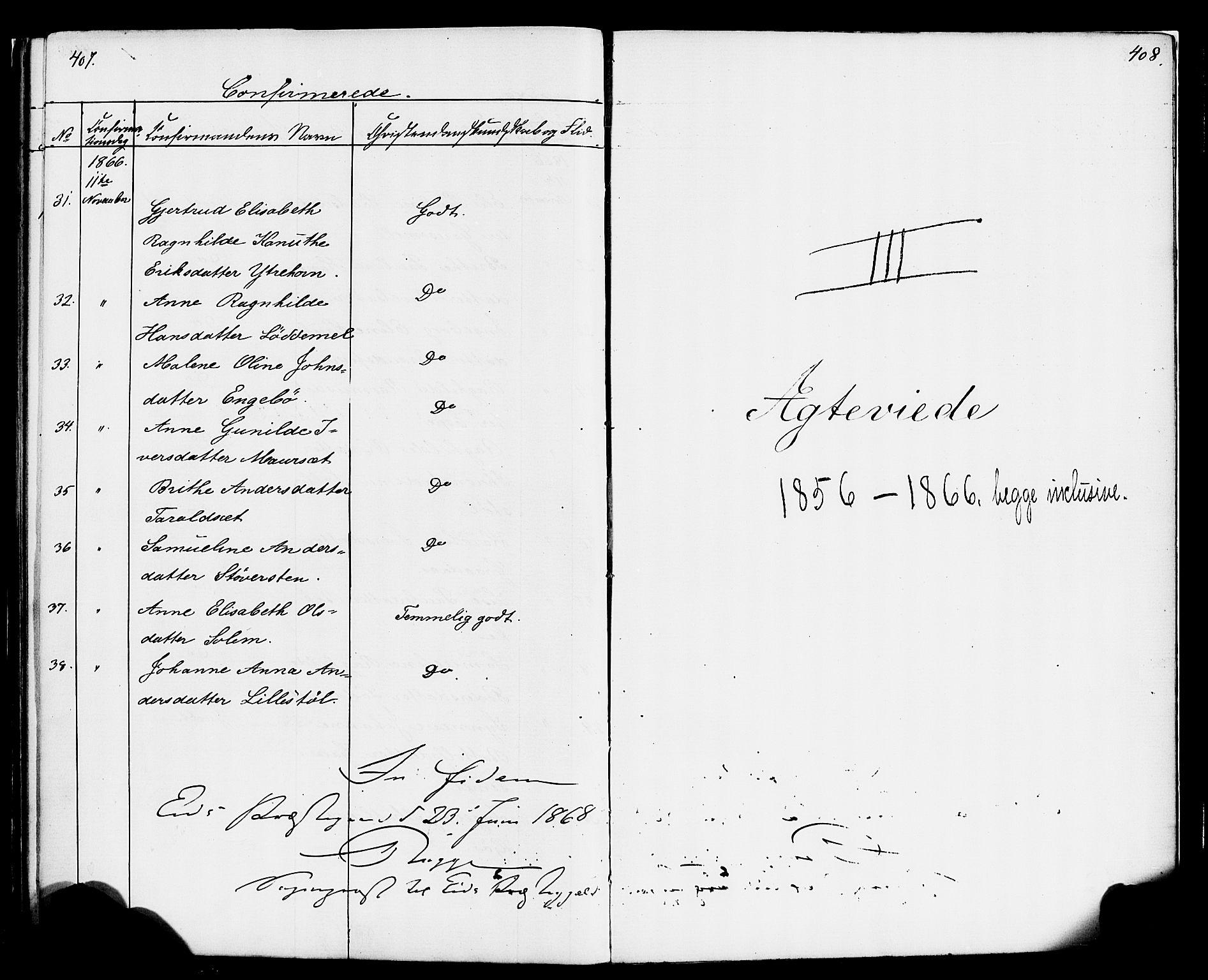 SAB, Eid Sokneprestembete, H/Haa: Ministerialbok nr. A 1, 1837-1866, s. 408-409