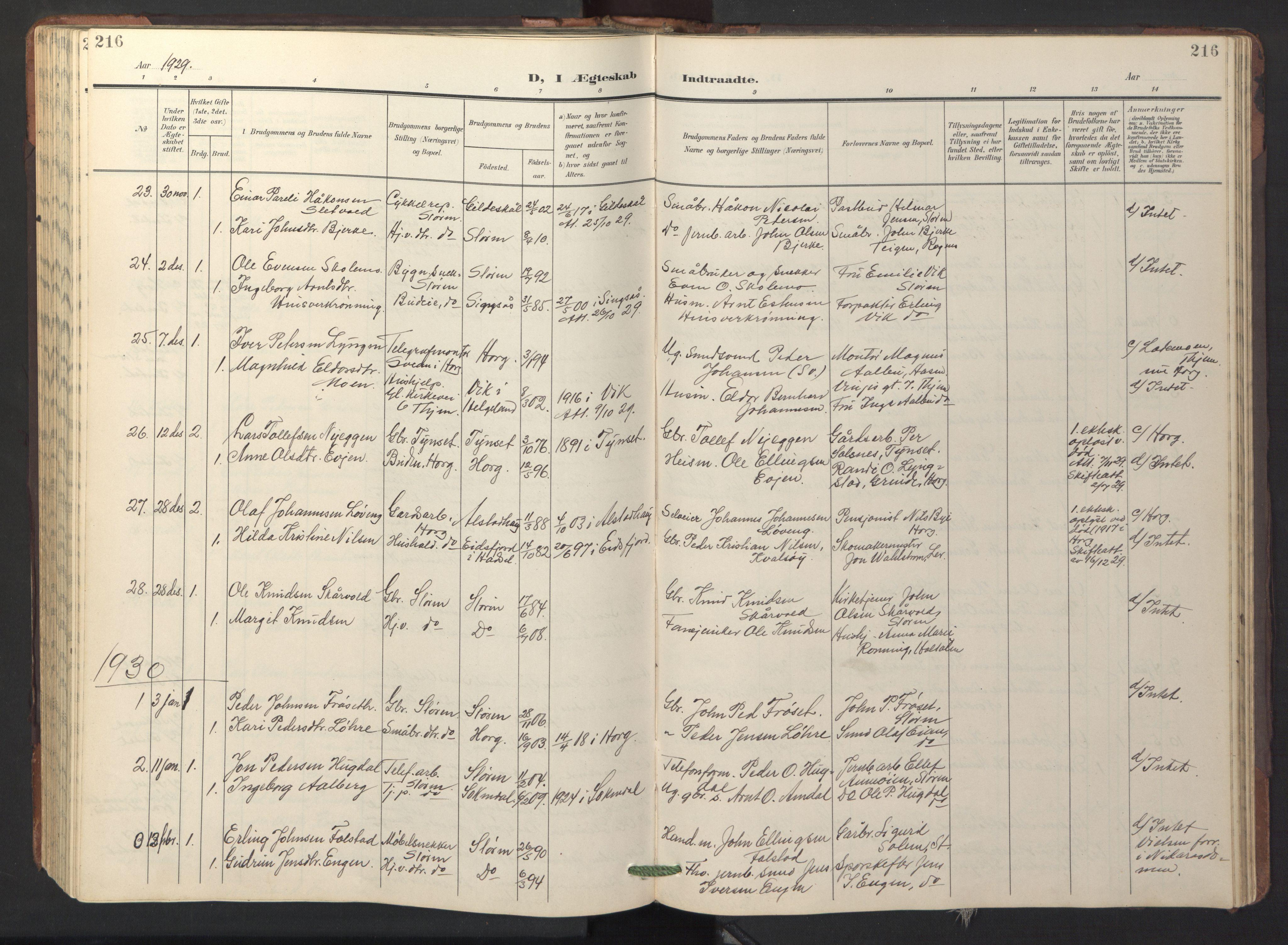 SAT, Ministerialprotokoller, klokkerbøker og fødselsregistre - Sør-Trøndelag, 687/L1019: Klokkerbok nr. 687C03, 1904-1931, s. 216