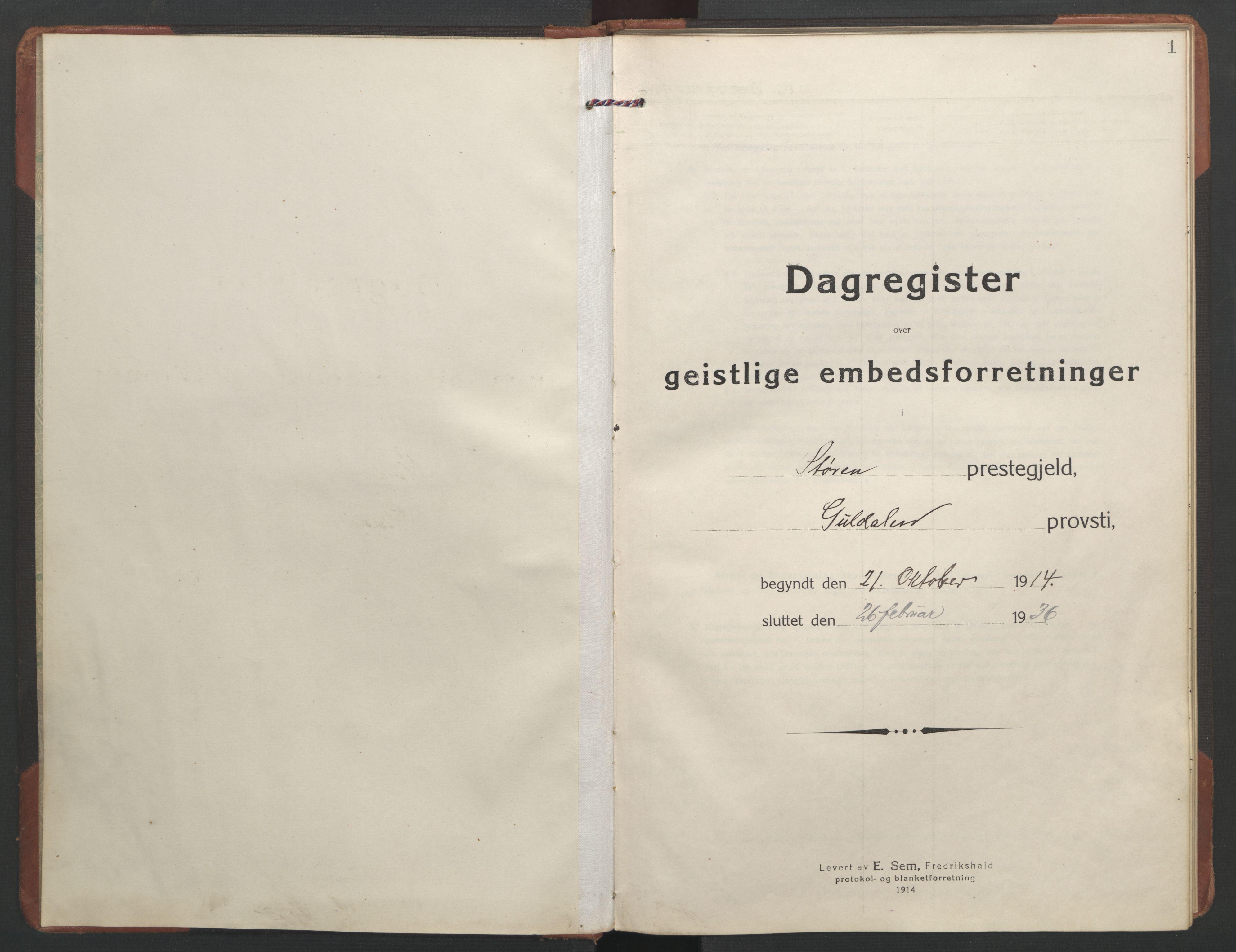 SAT, Ministerialprotokoller, klokkerbøker og fødselsregistre - Sør-Trøndelag, 687/L1013: Dagregister nr. 687B02, 1914-1936, s. 1