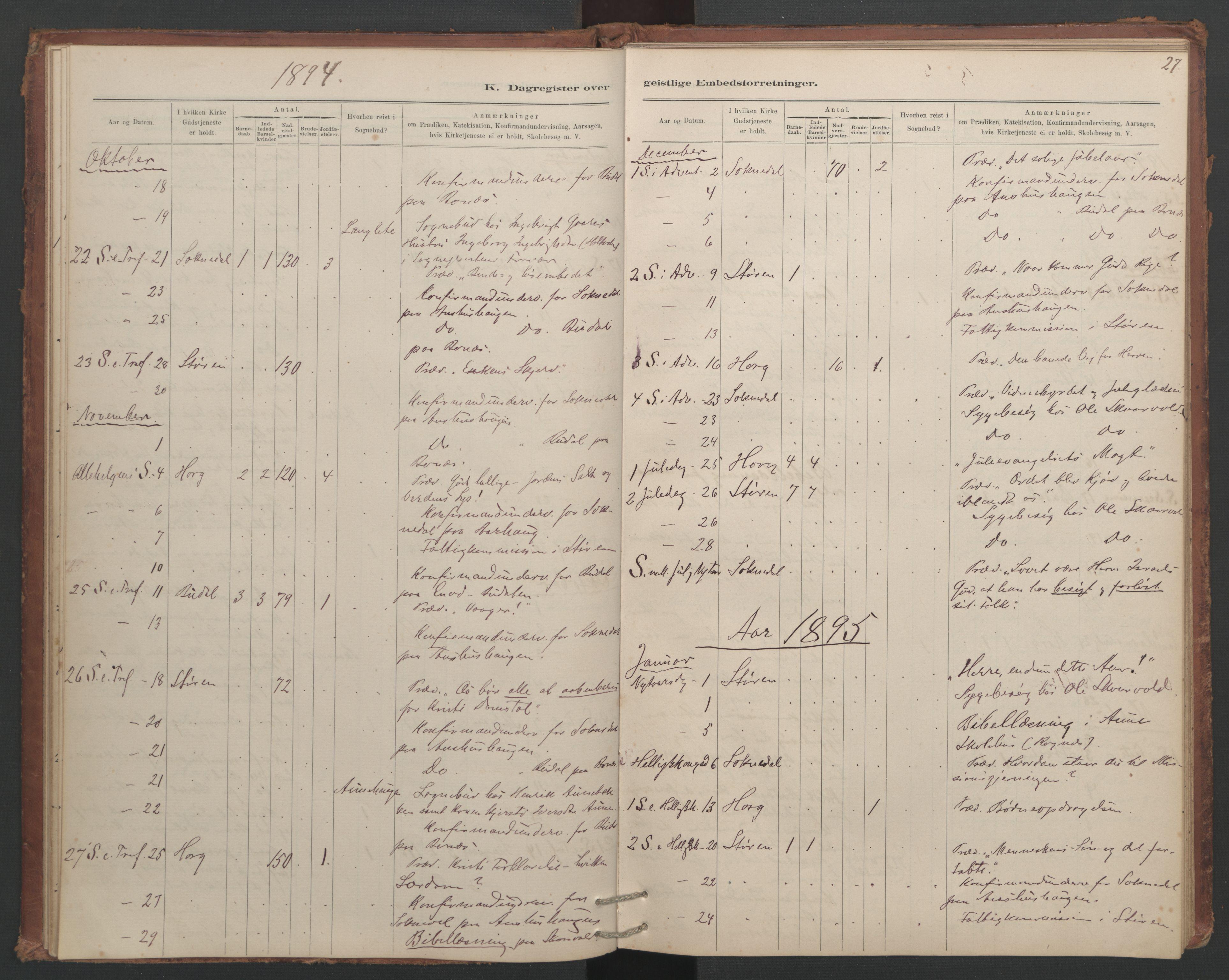 SAT, Ministerialprotokoller, klokkerbøker og fødselsregistre - Sør-Trøndelag, 687/L1012: Dagregister nr. 687B01, 1887-1914, s. 27
