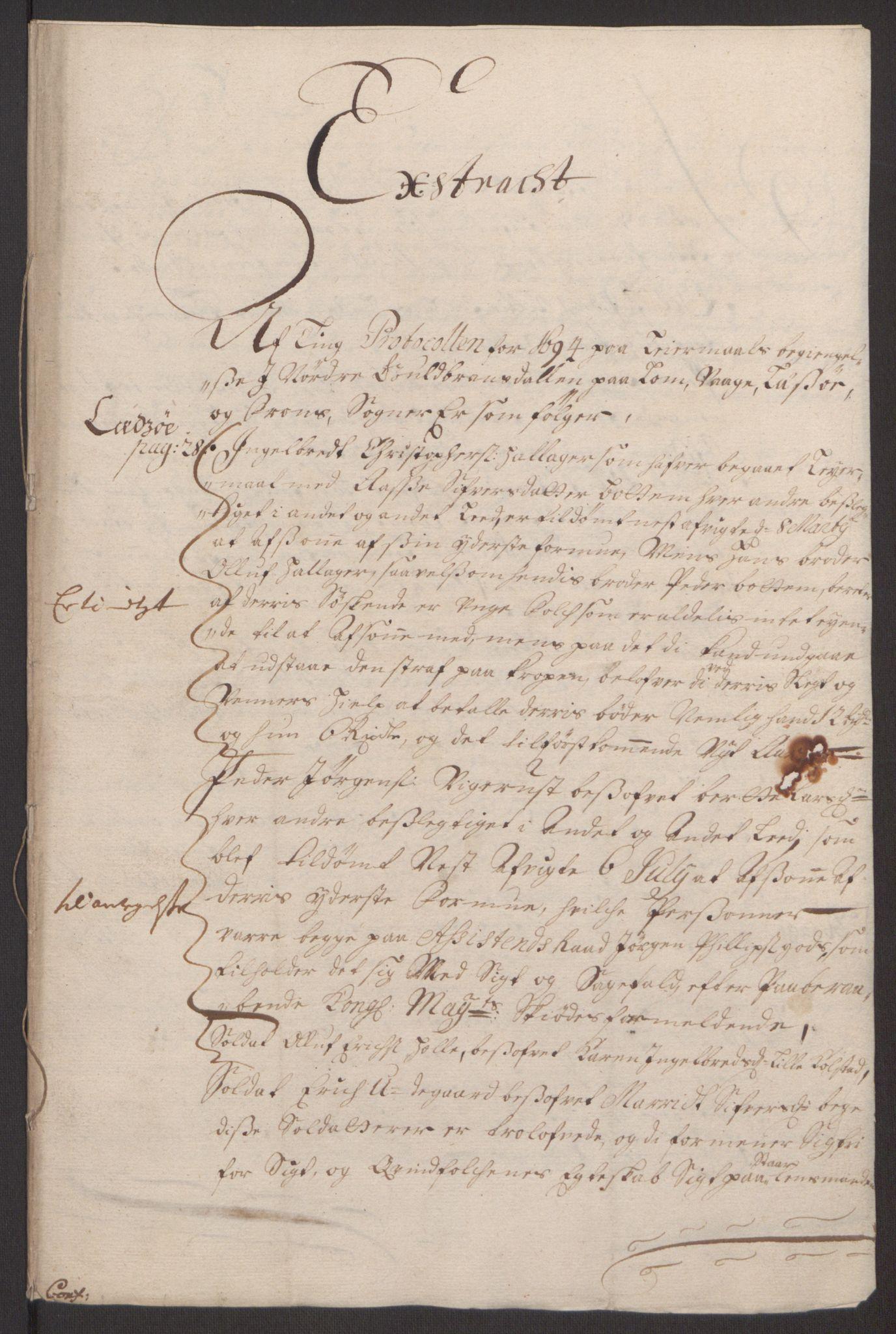 RA, Rentekammeret inntil 1814, Reviderte regnskaper, Fogderegnskap, R17/L1168: Fogderegnskap Gudbrandsdal, 1694, s. 271