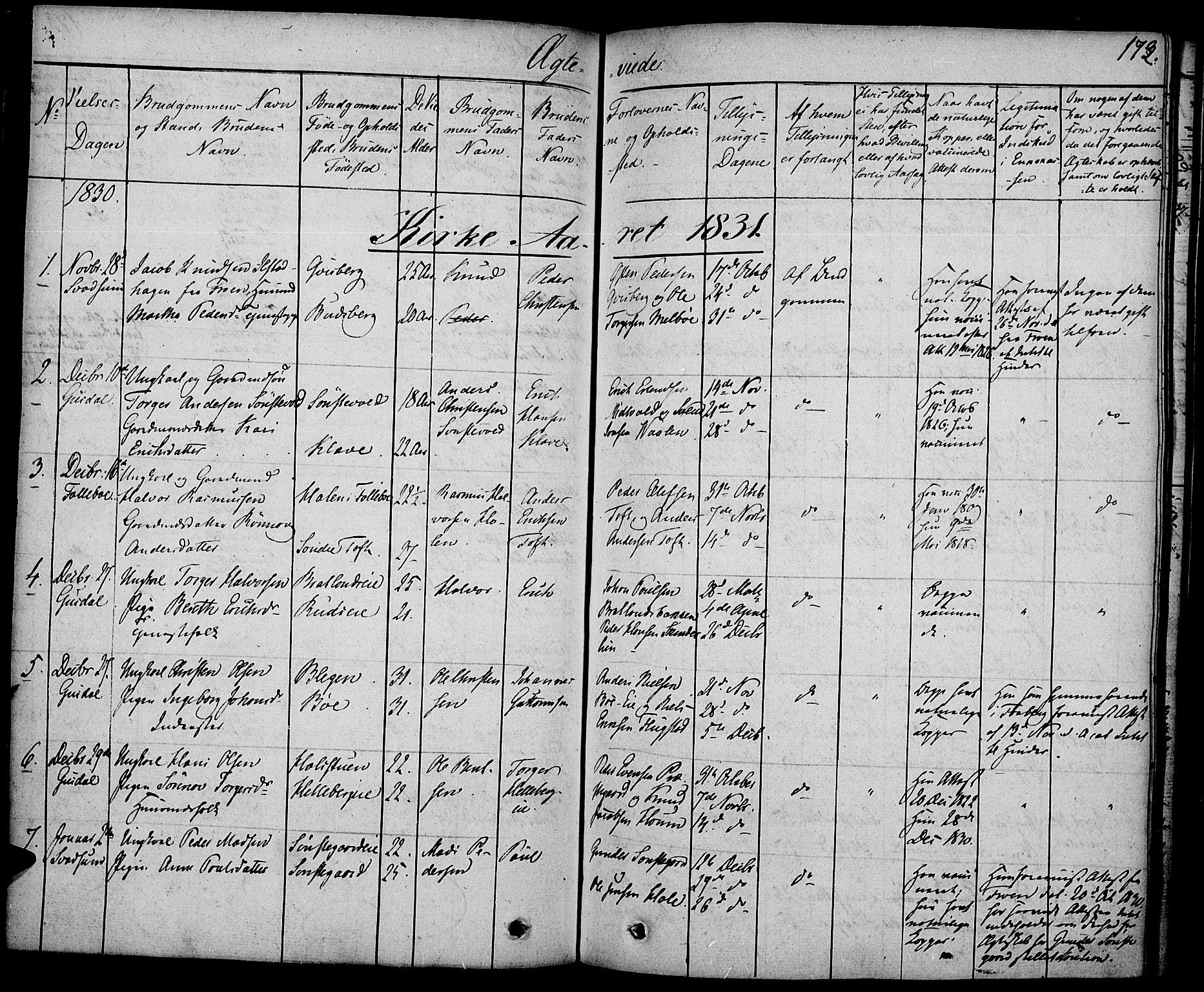 SAH, Gausdal prestekontor, Ministerialbok nr. 6, 1830-1839, s. 173