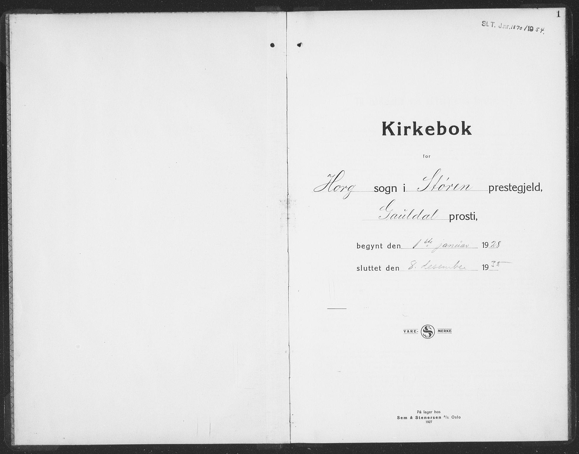 SAT, Ministerialprotokoller, klokkerbøker og fødselsregistre - Sør-Trøndelag, 692/L1114: Klokkerbok nr. 692C09, 1928-1935, s. 1