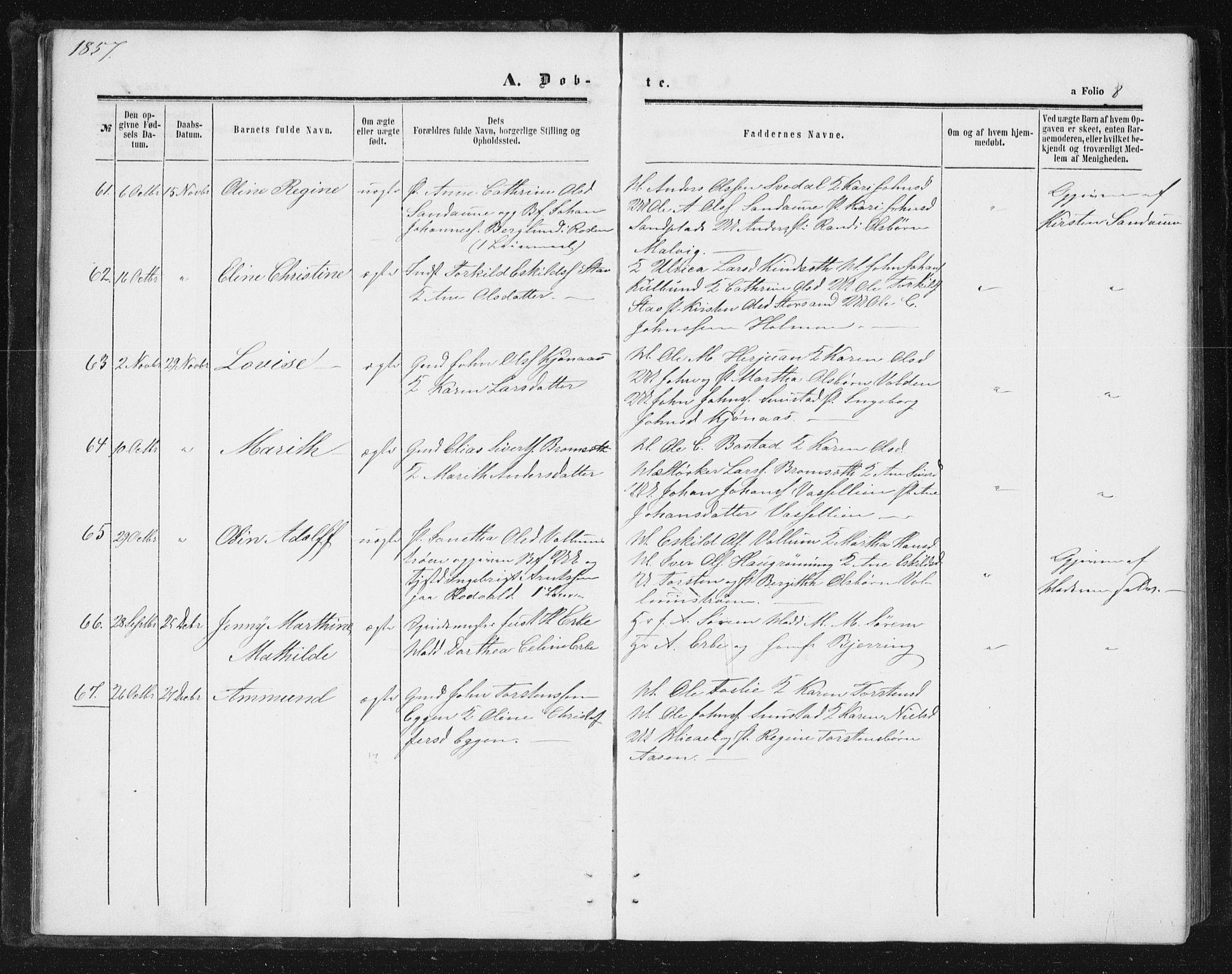 SAT, Ministerialprotokoller, klokkerbøker og fødselsregistre - Sør-Trøndelag, 616/L0408: Ministerialbok nr. 616A05, 1857-1865, s. 8