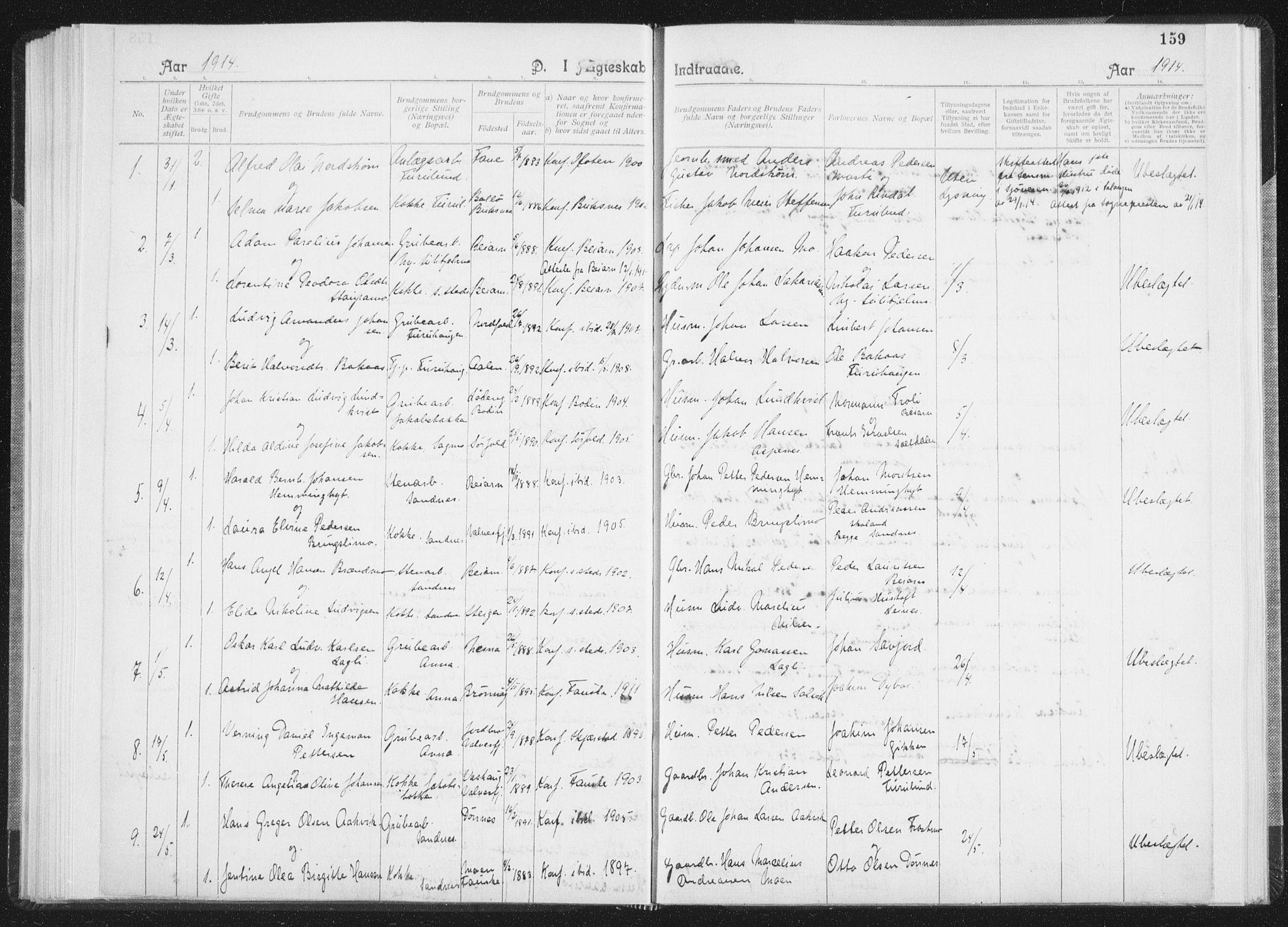 SAT, Ministerialprotokoller, klokkerbøker og fødselsregistre - Nordland, 850/L0711: Residerende kapellans bok nr. 850B01, 1902-1915, s. 159
