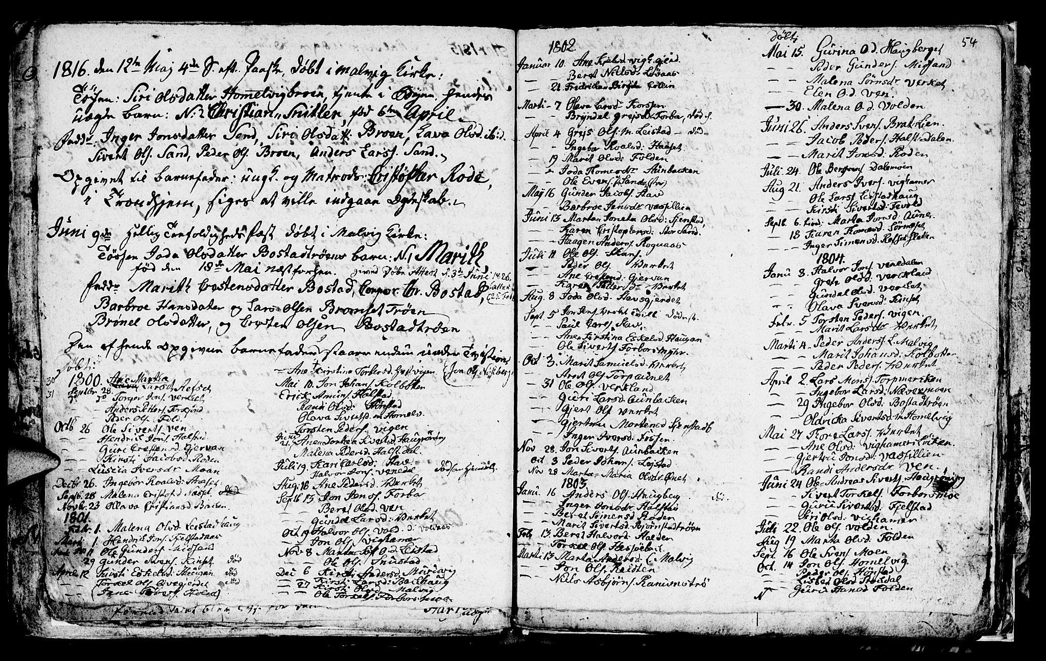 SAT, Ministerialprotokoller, klokkerbøker og fødselsregistre - Sør-Trøndelag, 616/L0419: Klokkerbok nr. 616C02, 1797-1816, s. 54