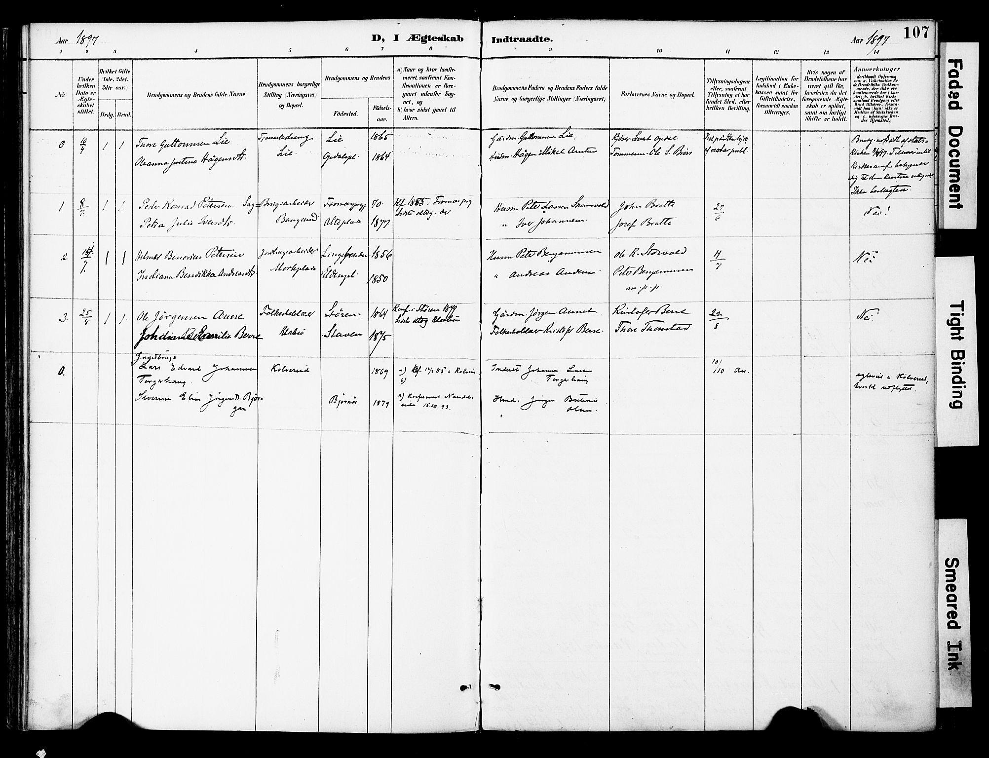 SAT, Ministerialprotokoller, klokkerbøker og fødselsregistre - Nord-Trøndelag, 742/L0409: Ministerialbok nr. 742A02, 1891-1905, s. 107