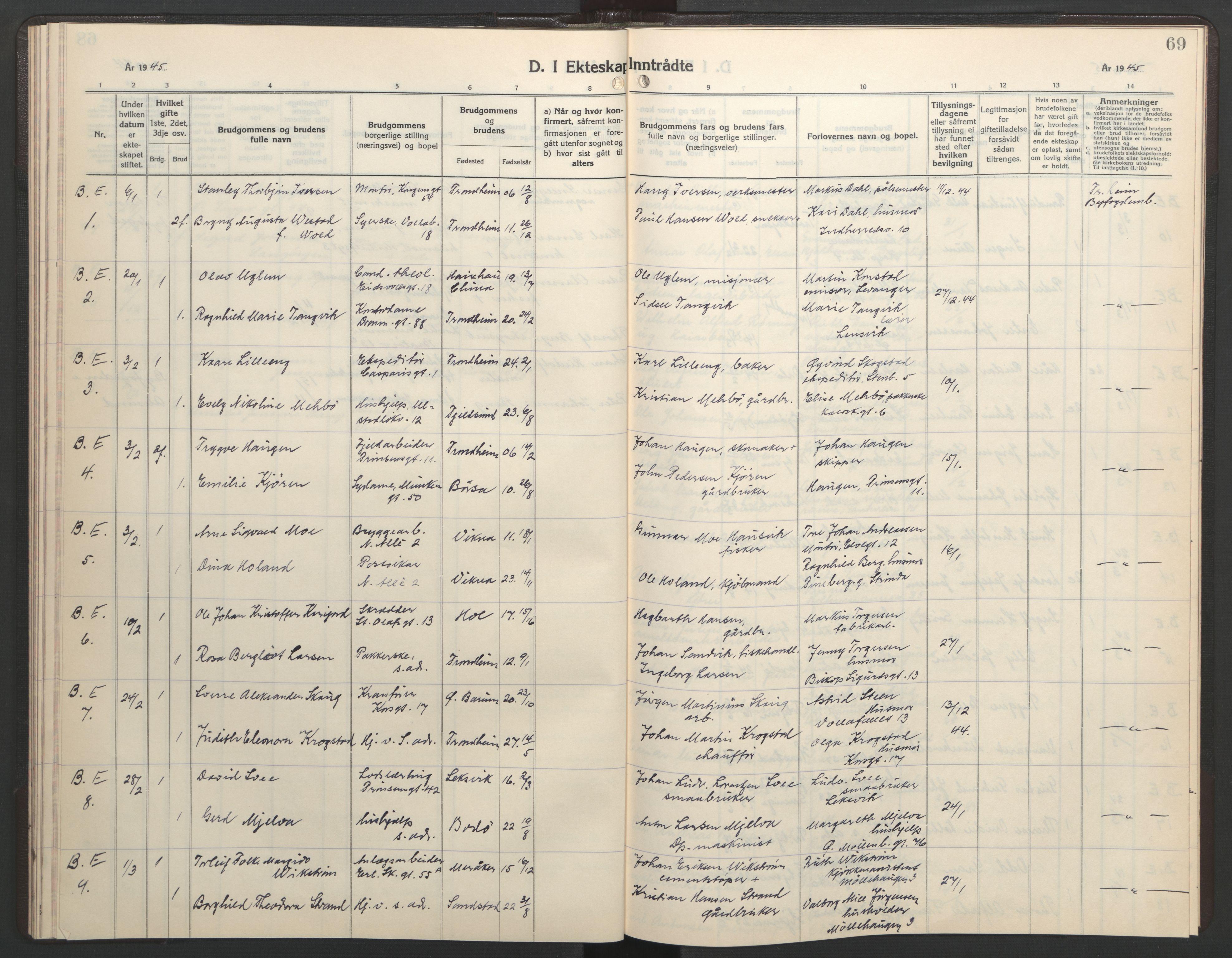 SAT, Ministerialprotokoller, klokkerbøker og fødselsregistre - Sør-Trøndelag, 602/L0154: Klokkerbok nr. 602C22, 1940-1947, s. 69
