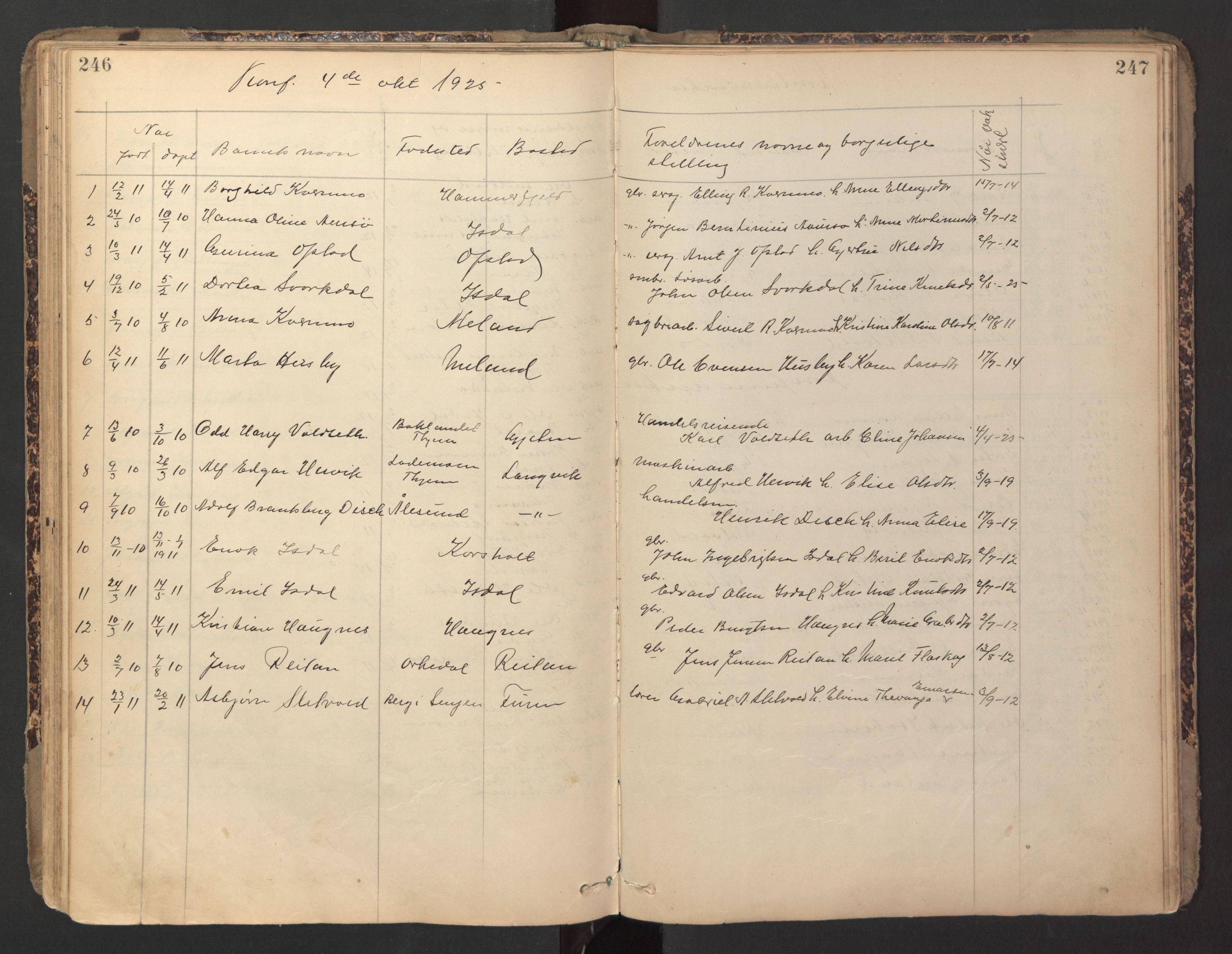 SAT, Ministerialprotokoller, klokkerbøker og fødselsregistre - Sør-Trøndelag, 670/L0837: Klokkerbok nr. 670C01, 1905-1946, s. 246-247