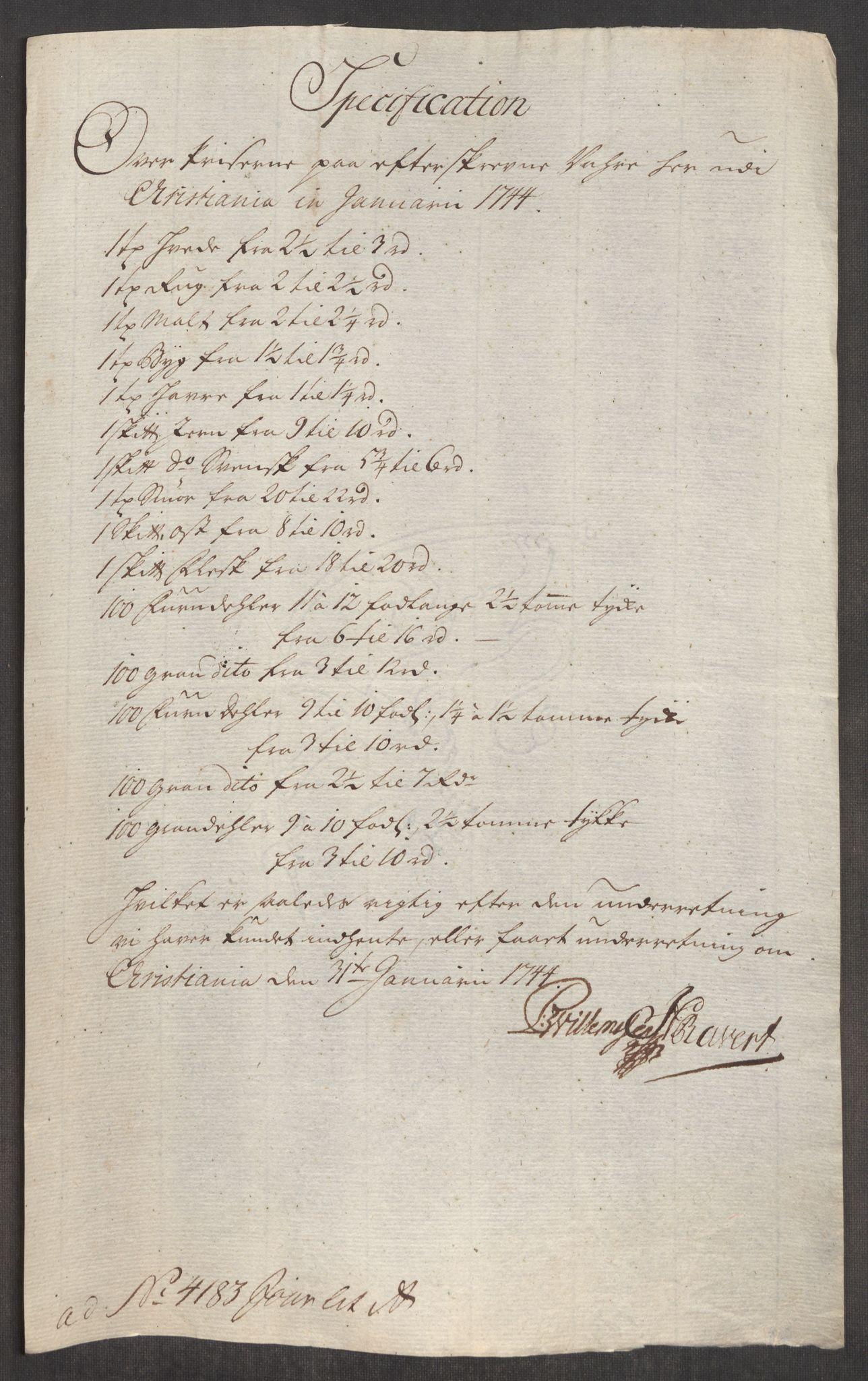 RA, Rentekammeret inntil 1814, Realistisk ordnet avdeling, Oe/L0002: [Ø1]: Priskuranter, 1740-1744, s. 855