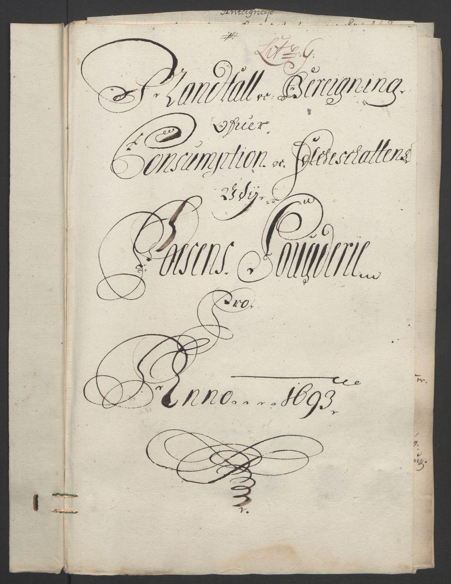 RA, Rentekammeret inntil 1814, Reviderte regnskaper, Fogderegnskap, R57/L3849: Fogderegnskap Fosen, 1692-1693, s. 491
