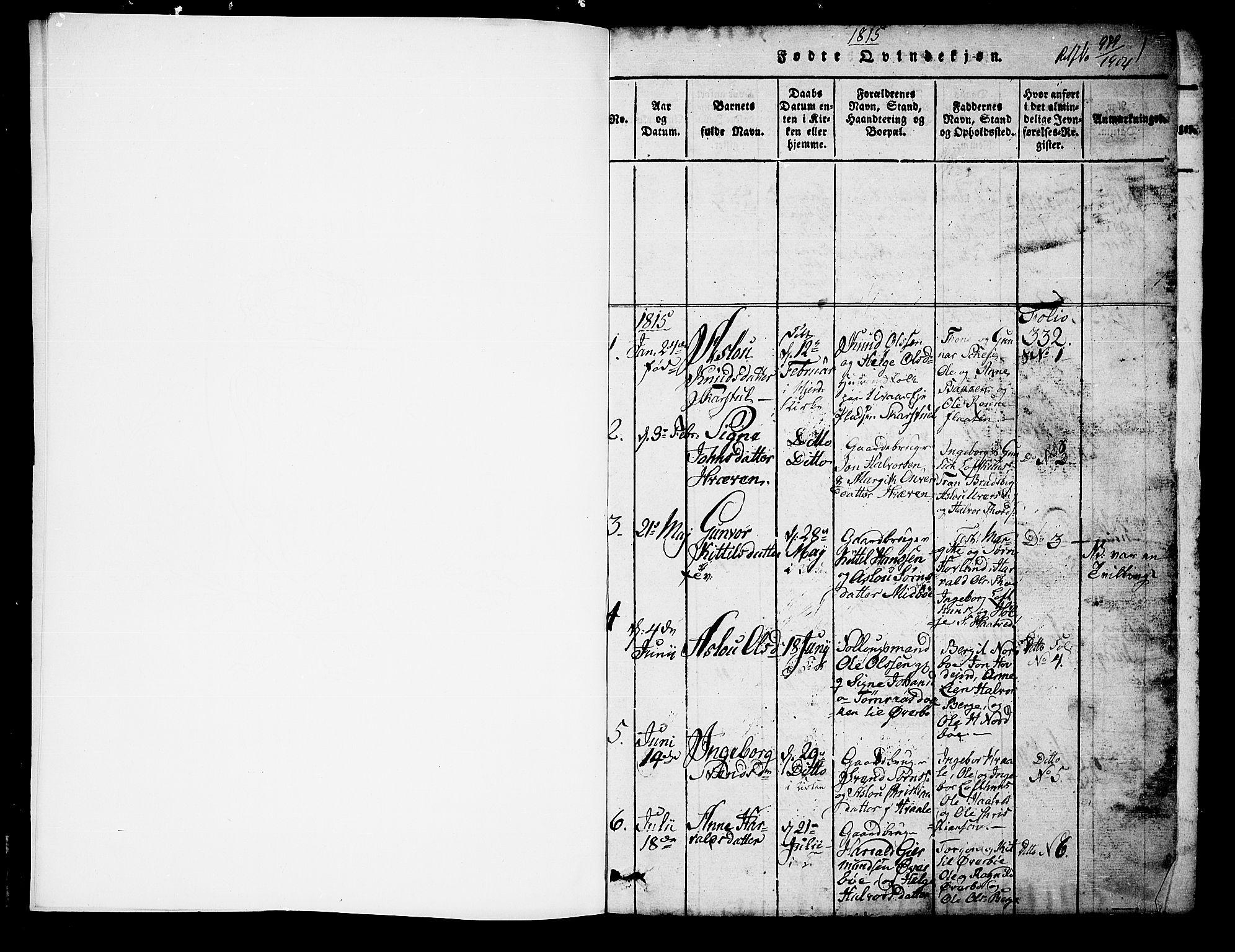 SAKO, Hjartdal kirkebøker, G/Ga/L0001: Klokkerbok nr. I 1, 1815-1842, s. 1