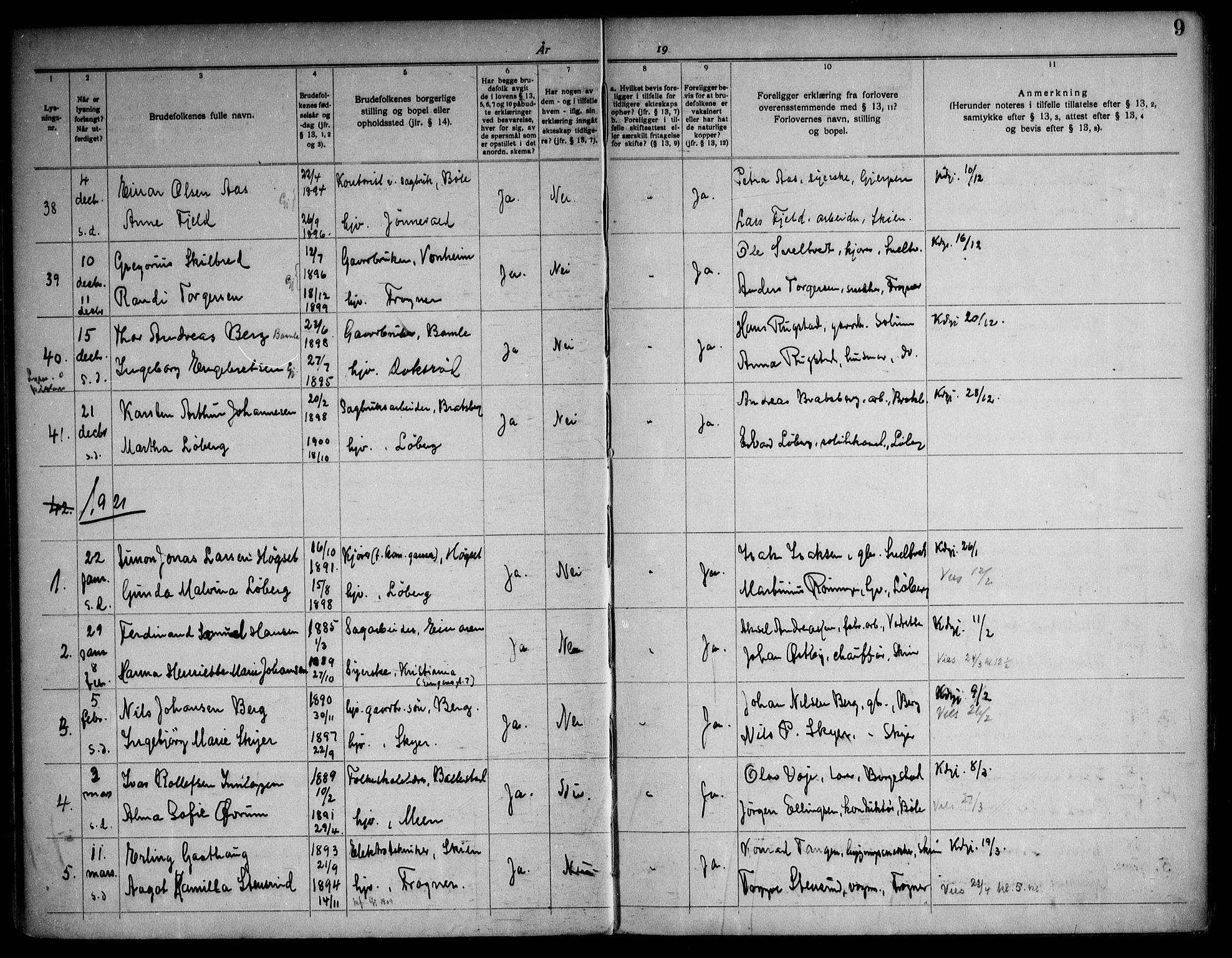 SAKO, Gjerpen kirkebøker, H/Ha/L0003: Lysningsprotokoll nr. I 3, 1919-1946, s. 9