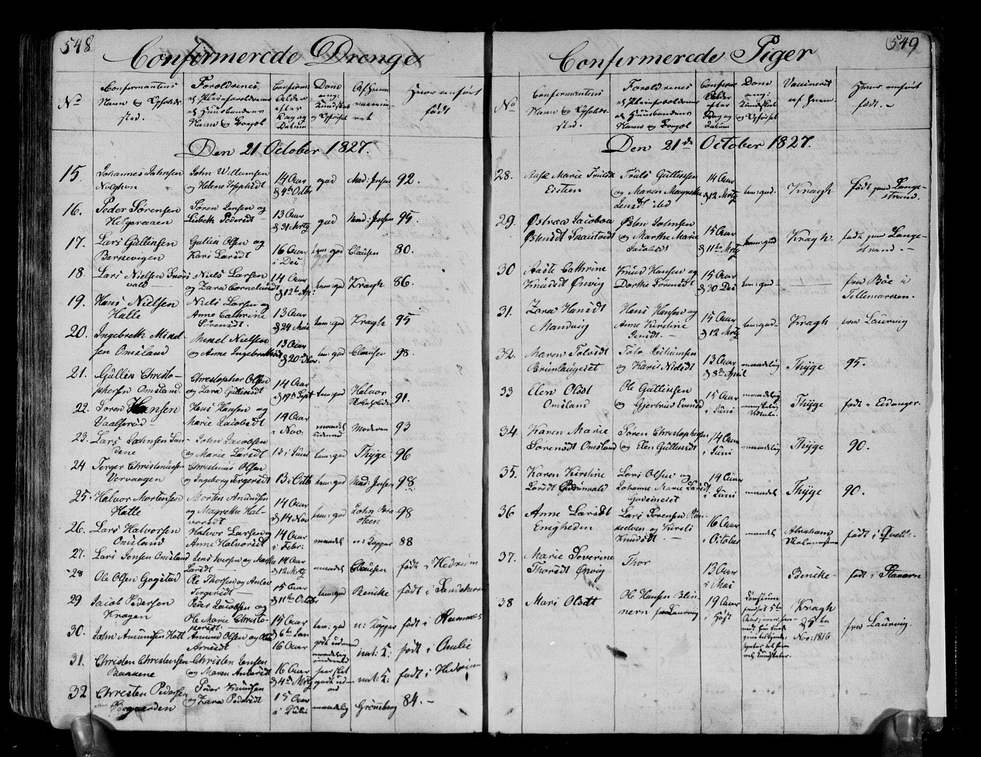 SAKO, Brunlanes kirkebøker, F/Fa/L0002: Ministerialbok nr. I 2, 1802-1834, s. 548-549