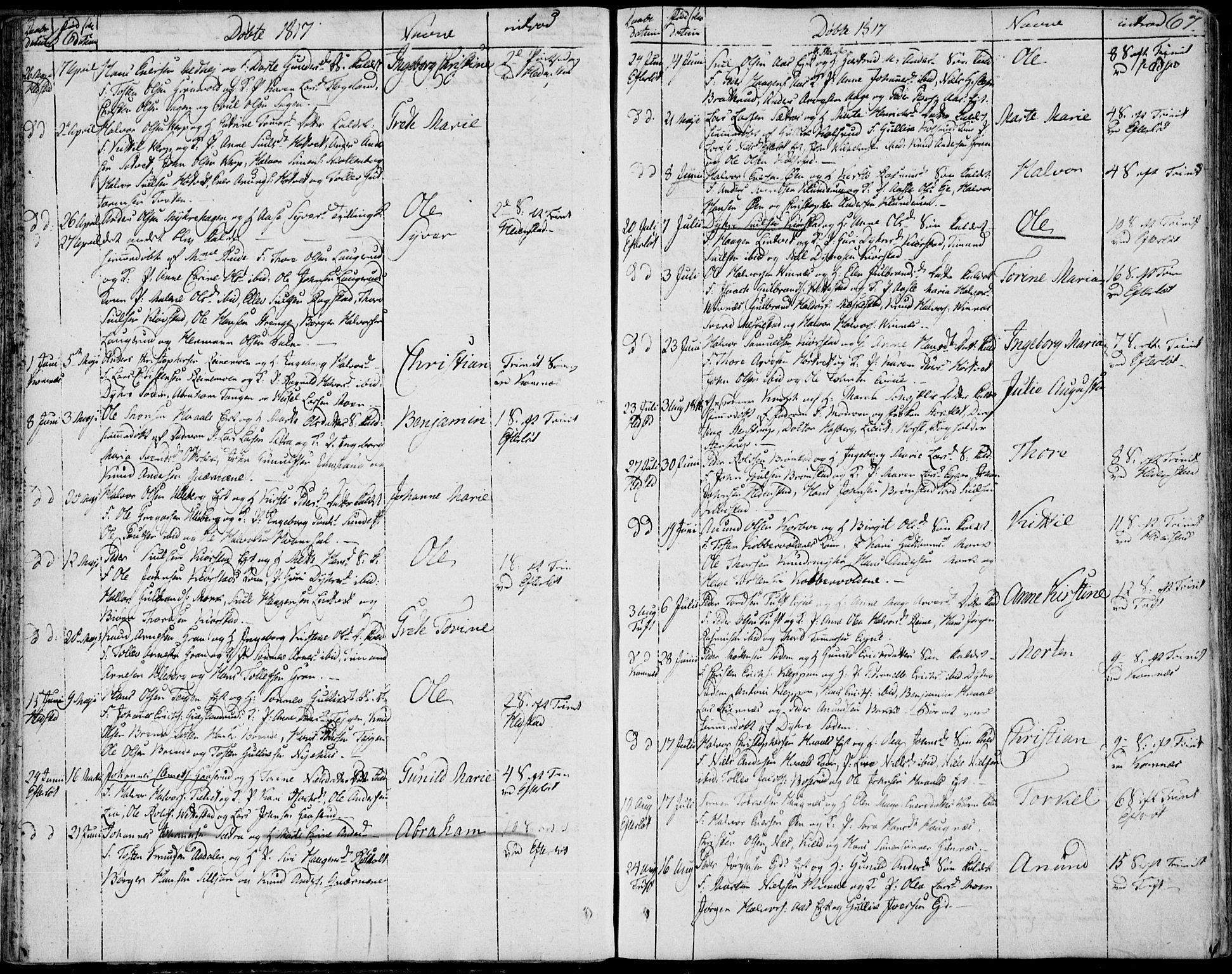 SAKO, Sandsvær kirkebøker, F/Fa/L0003: Ministerialbok nr. I 3, 1809-1817, s. 66-67