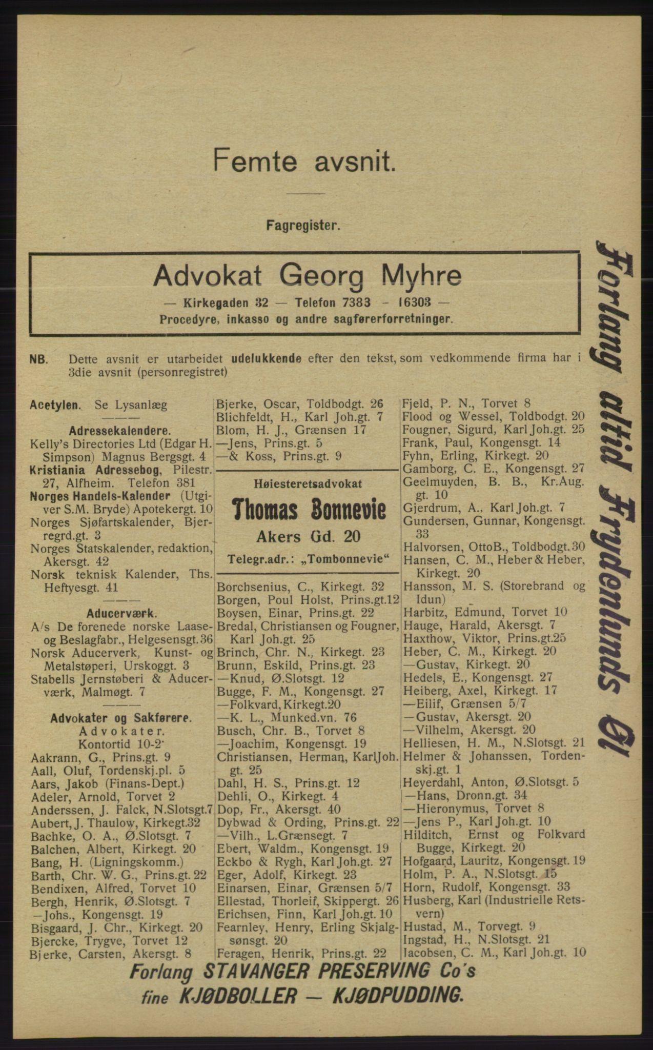 RA, Kristiania adressebok (publikasjon)*, 1913, s. 1729