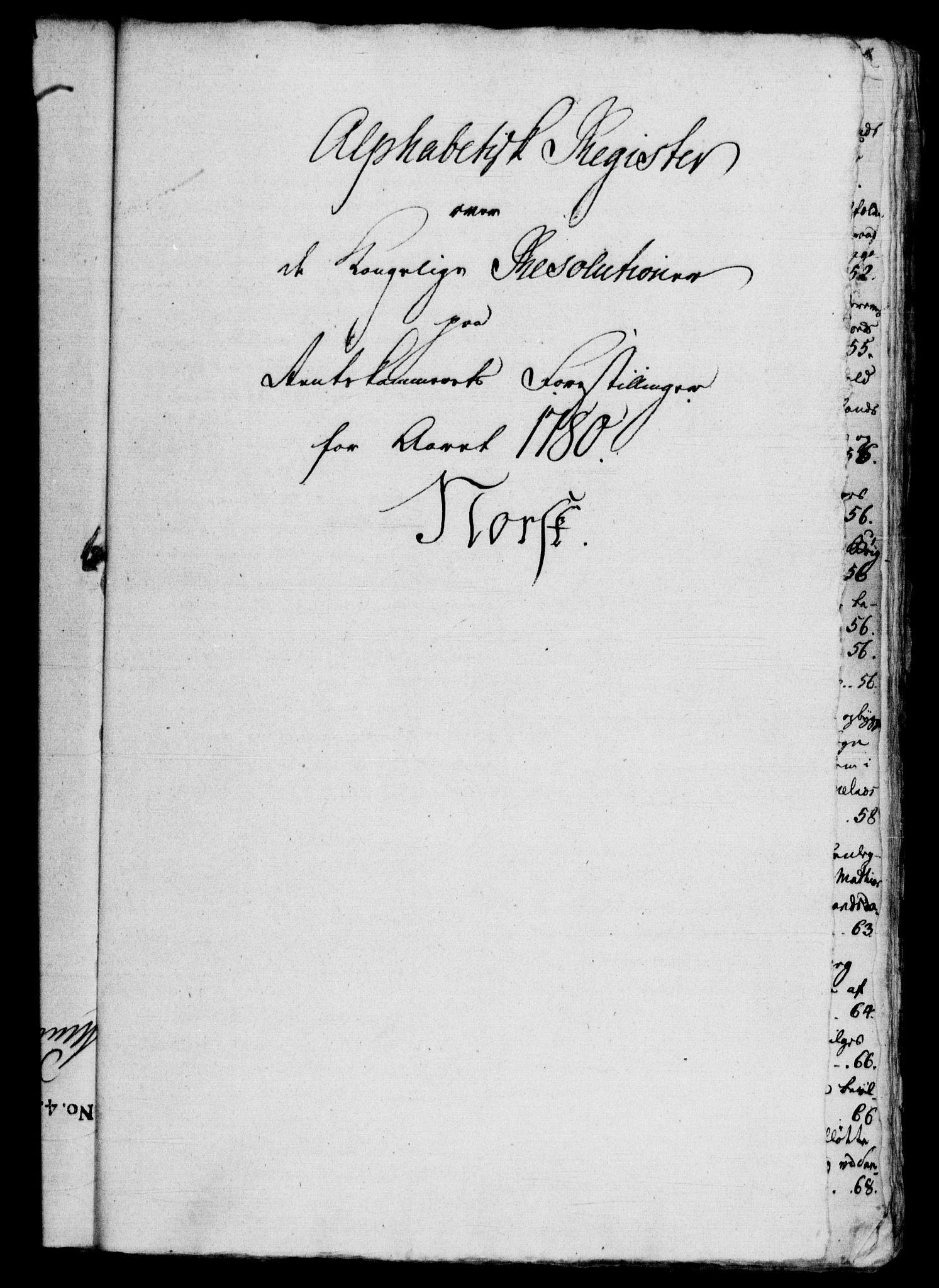 RA, Rentekammeret, Kammerkanselliet, G/Gf/Gfb/L0010: Register til norske relasjons- og resolusjonsprotokoller (merket RK 52.105), 1775-1780, s. 254