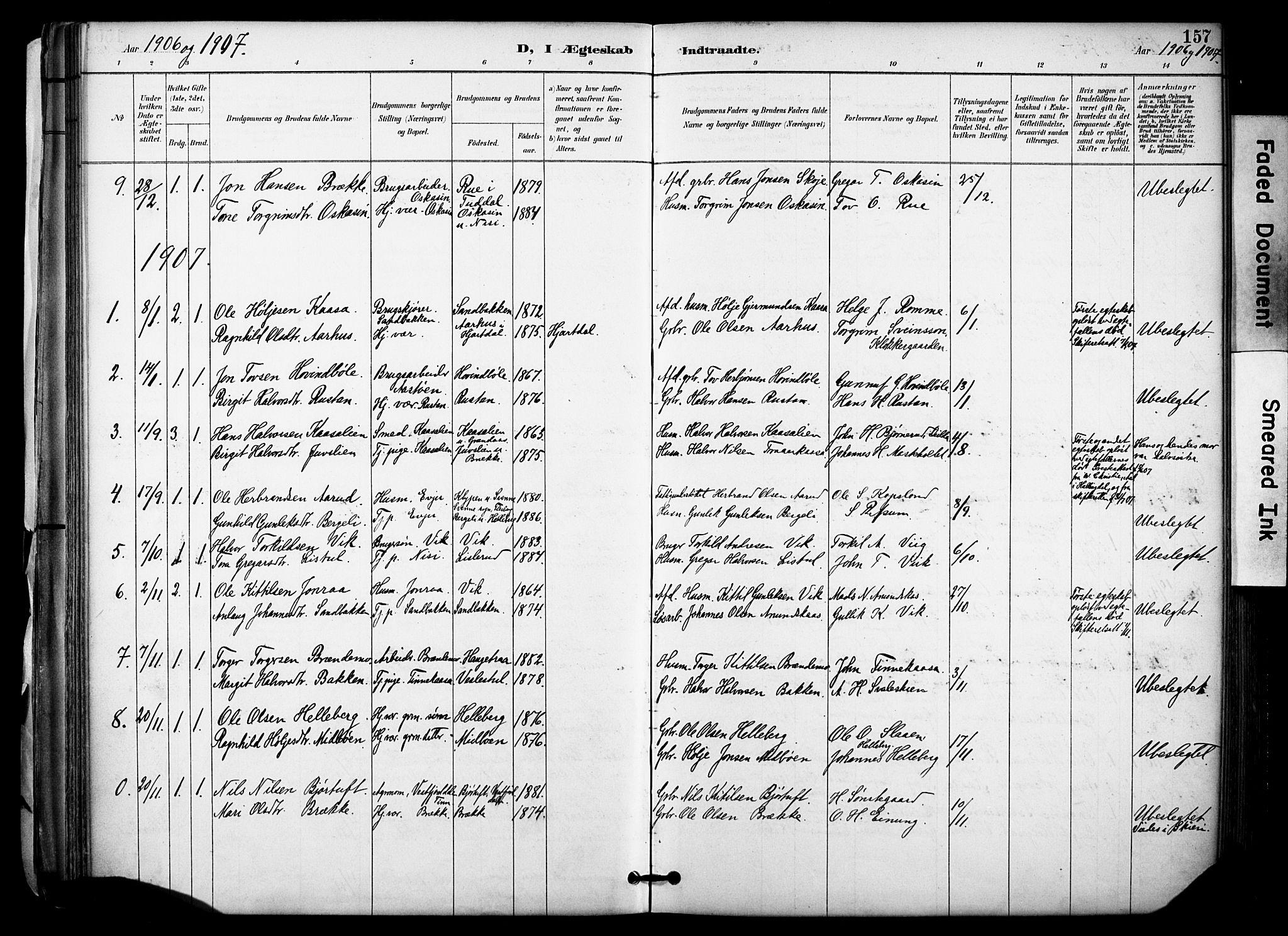 SAKO, Gransherad kirkebøker, F/Fa/L0005: Ministerialbok nr. I 5, 1887-1916, s. 157