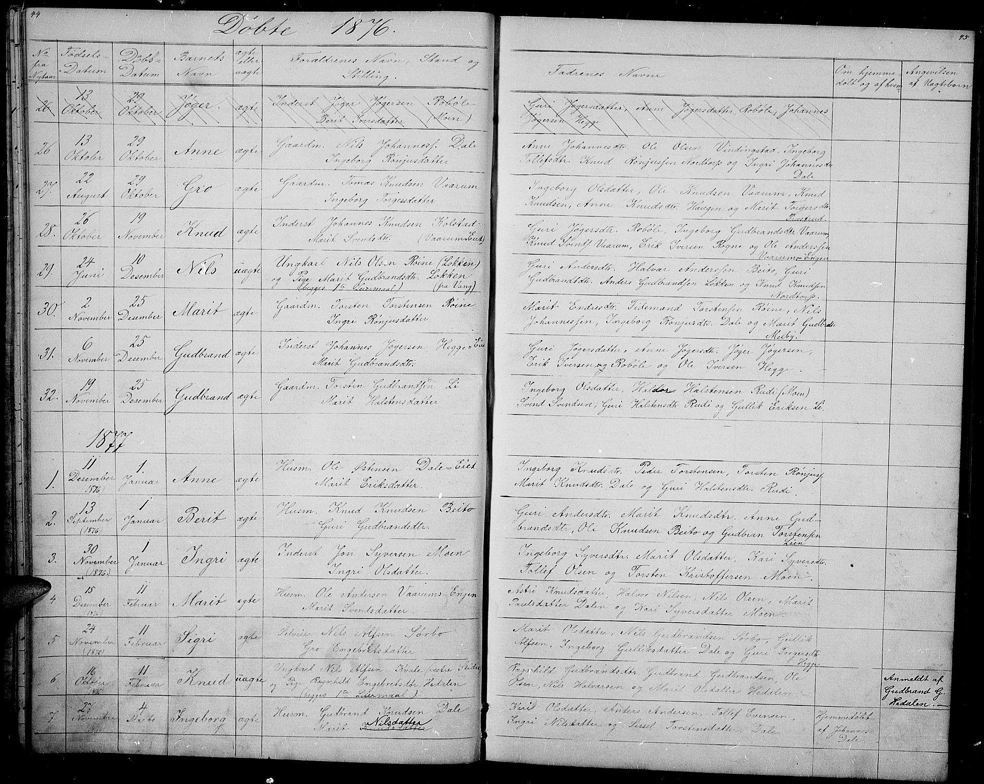 SAH, Øystre Slidre prestekontor, Klokkerbok nr. 1, 1866-1886, s. 44-45