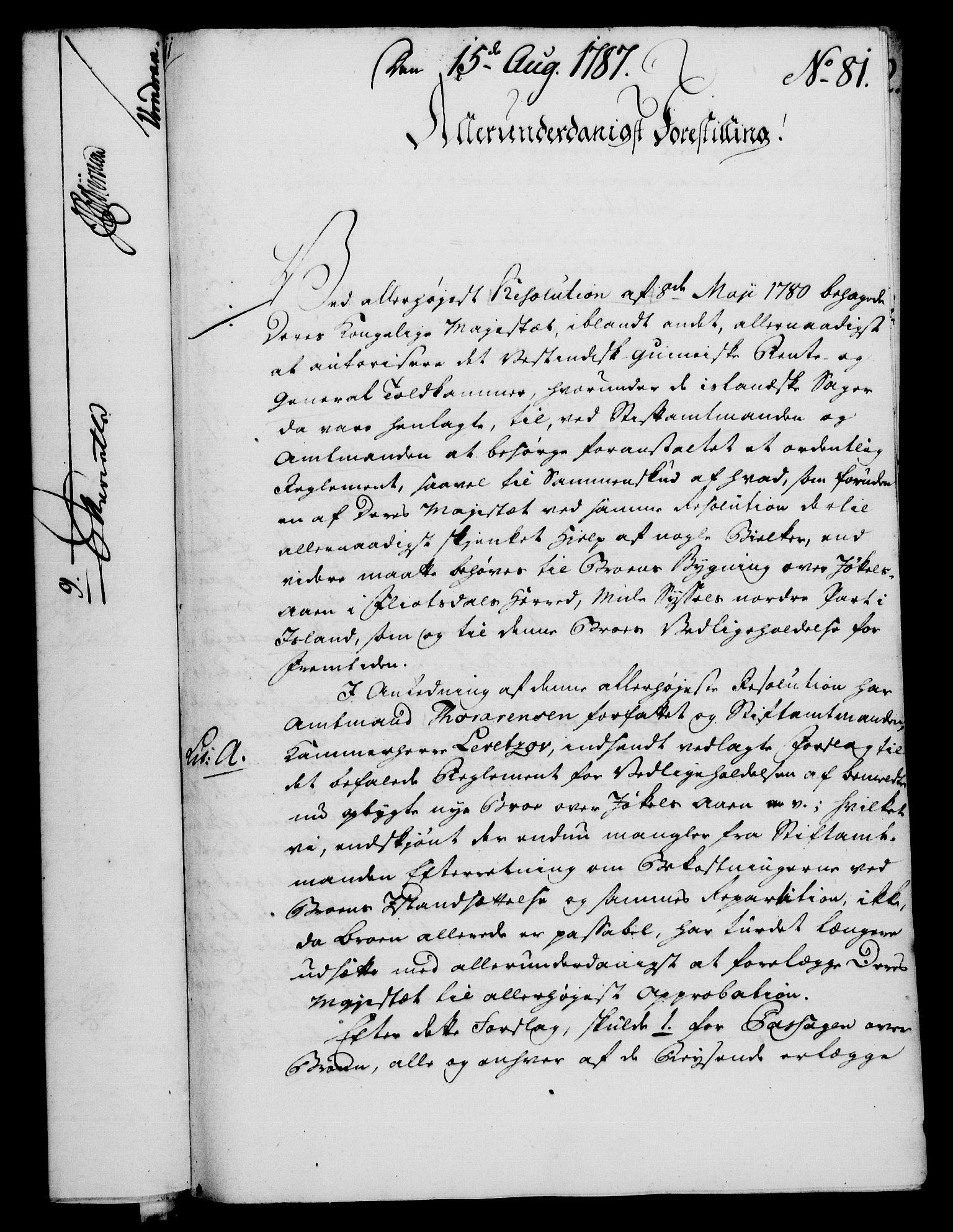 RA, Rentekammeret, Kammerkanselliet, G/Gf/Gfa/L0069: Norsk relasjons- og resolusjonsprotokoll (merket RK 52.69), 1787, s. 923
