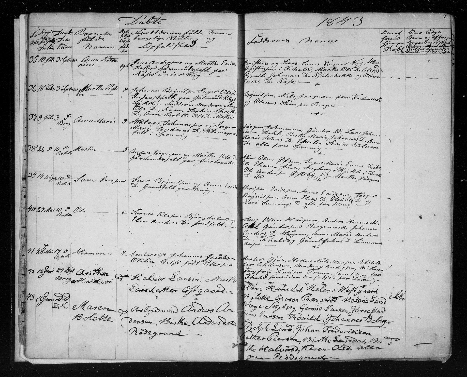 SAO, Berg prestekontor Kirkebøker, F/Fa/L0004: Ministerialbok nr. I 4, 1843-1860, s. 7
