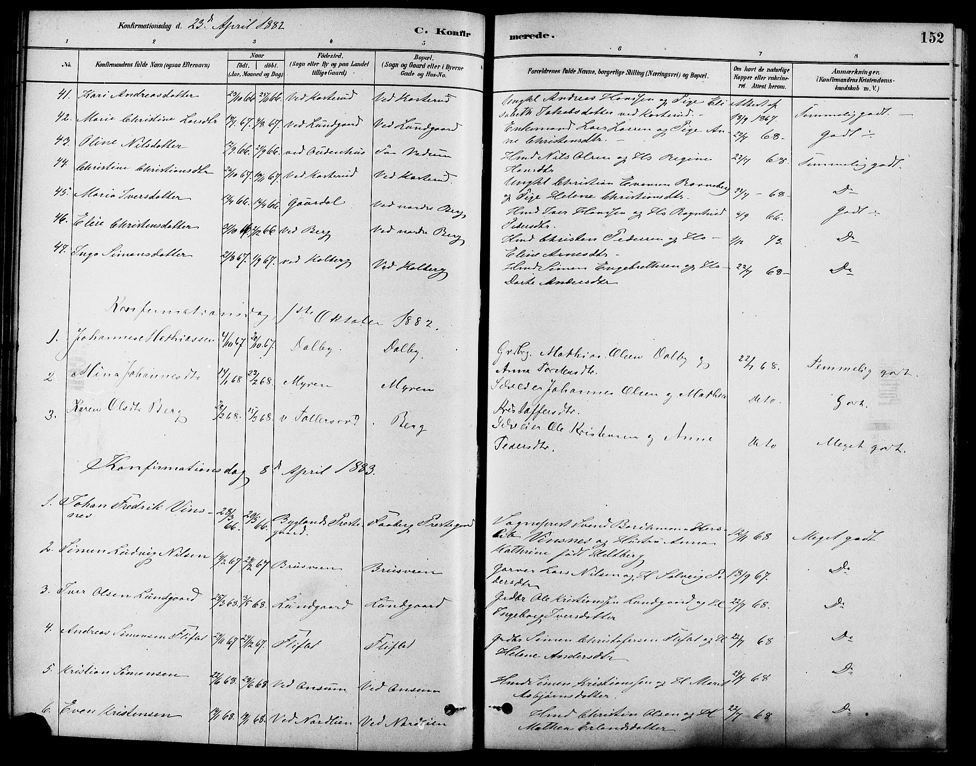 SAH, Fåberg prestekontor, Ministerialbok nr. 8, 1879-1898, s. 152