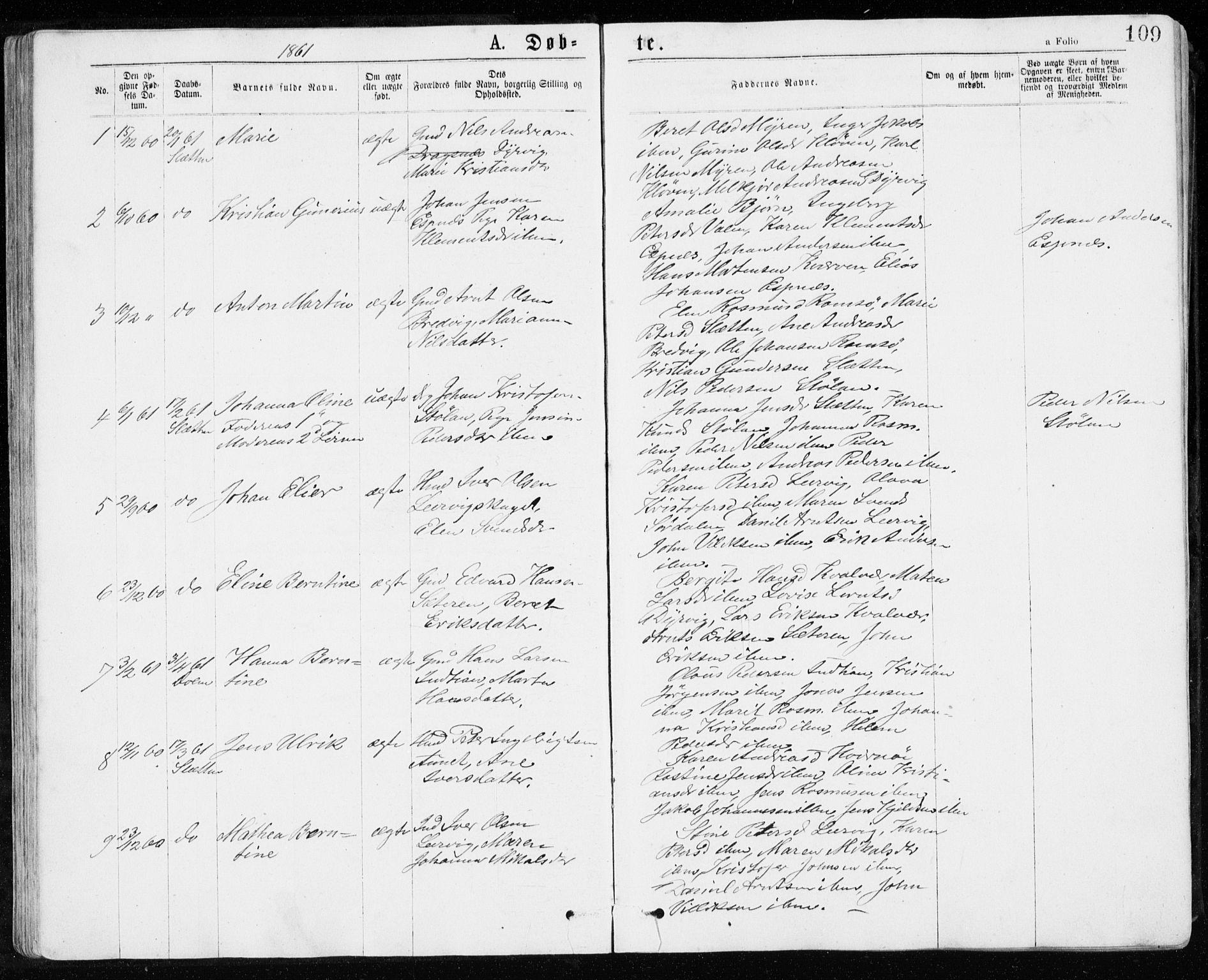 SAT, Ministerialprotokoller, klokkerbøker og fødselsregistre - Sør-Trøndelag, 640/L0576: Ministerialbok nr. 640A01, 1846-1876, s. 109