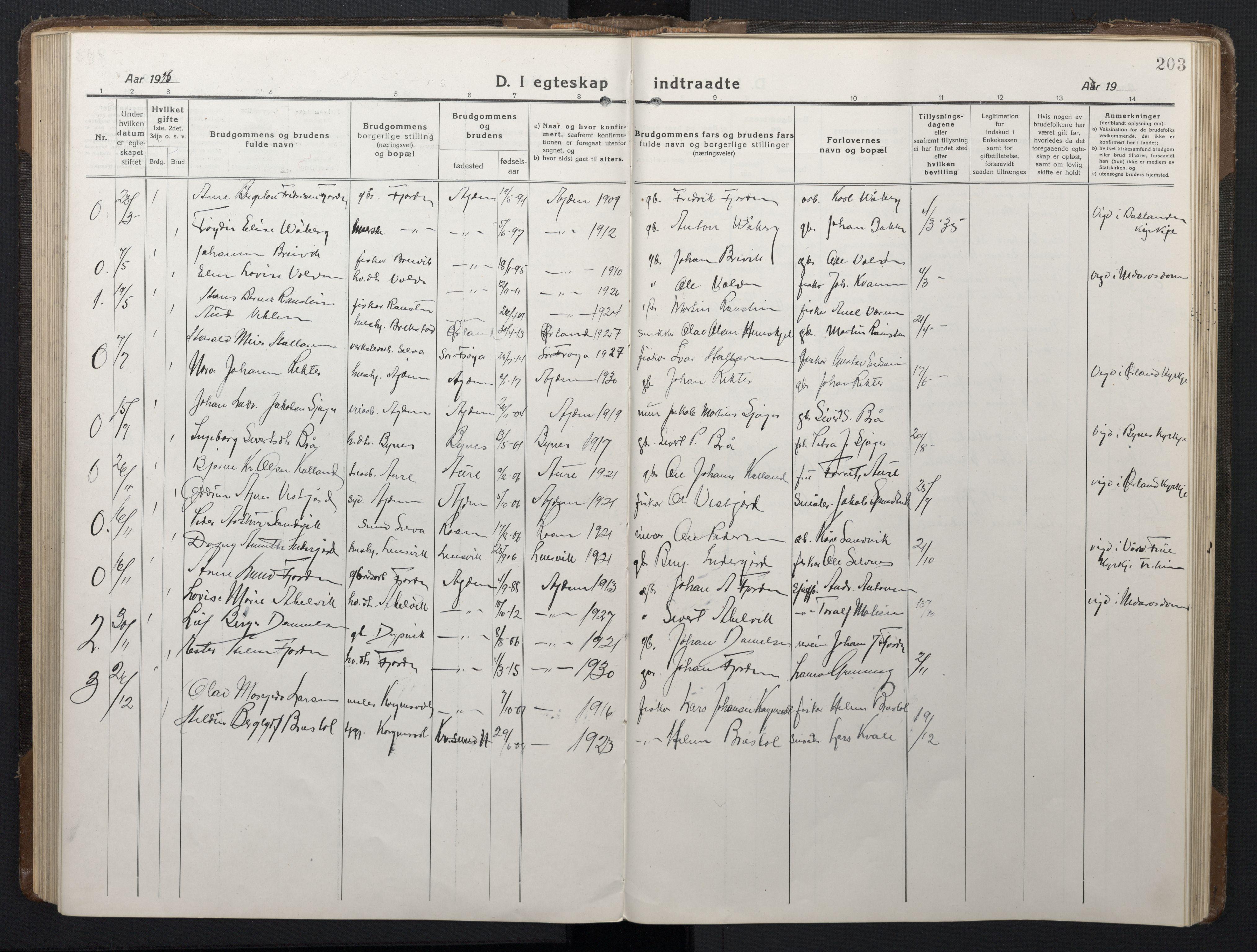 SAT, Ministerialprotokoller, klokkerbøker og fødselsregistre - Sør-Trøndelag, 662/L0758: Klokkerbok nr. 662C03, 1918-1948, s. 203
