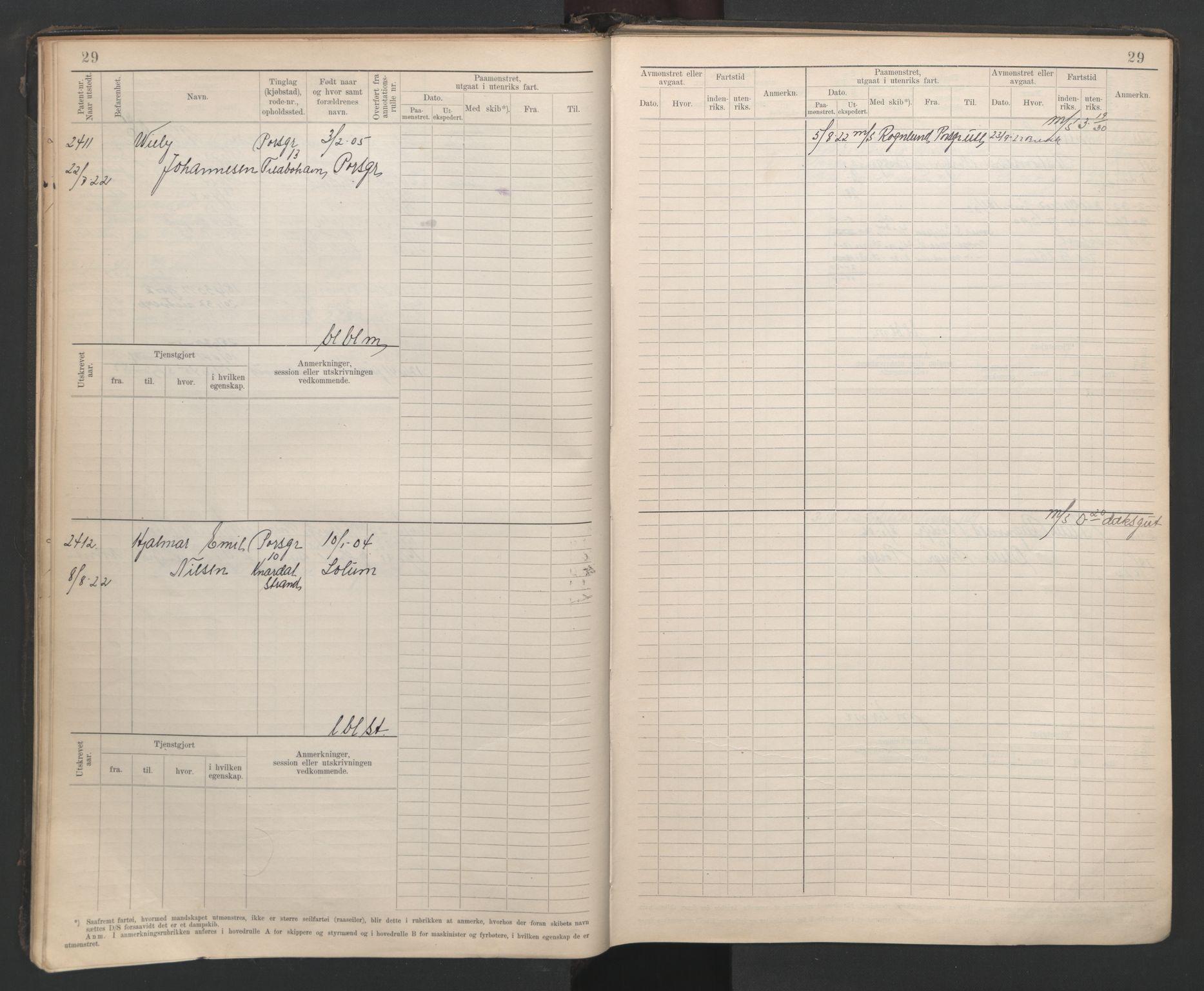 SAKO, Porsgrunn innrulleringskontor, F/Fb/L0007: Annotasjonsrulle, 1926-1948, s. 29