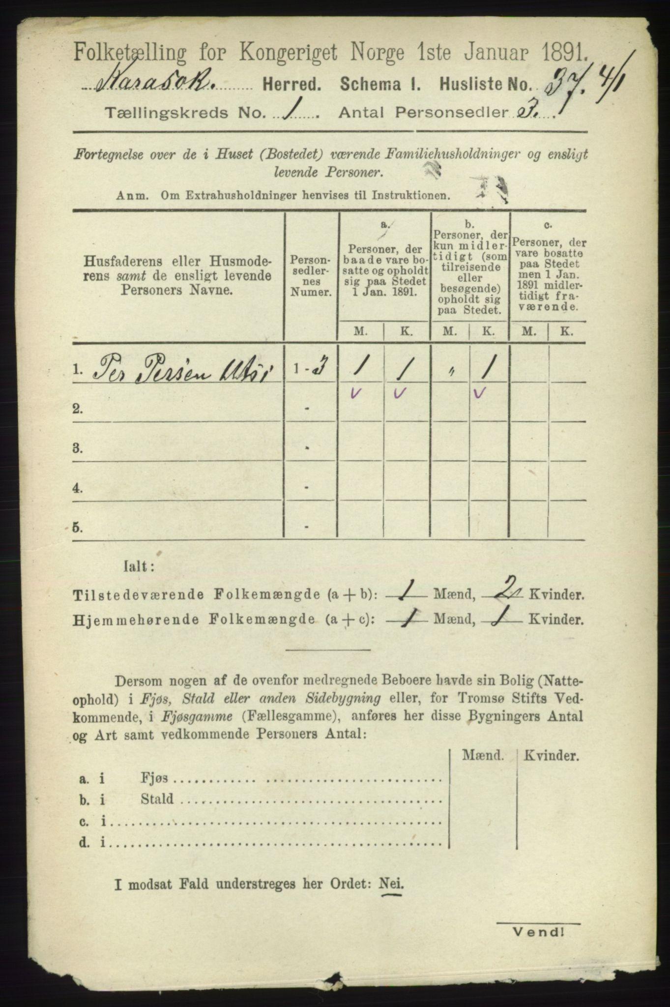 RA, Folketelling 1891 for 2021 Karasjok herred, 1891, s. 52