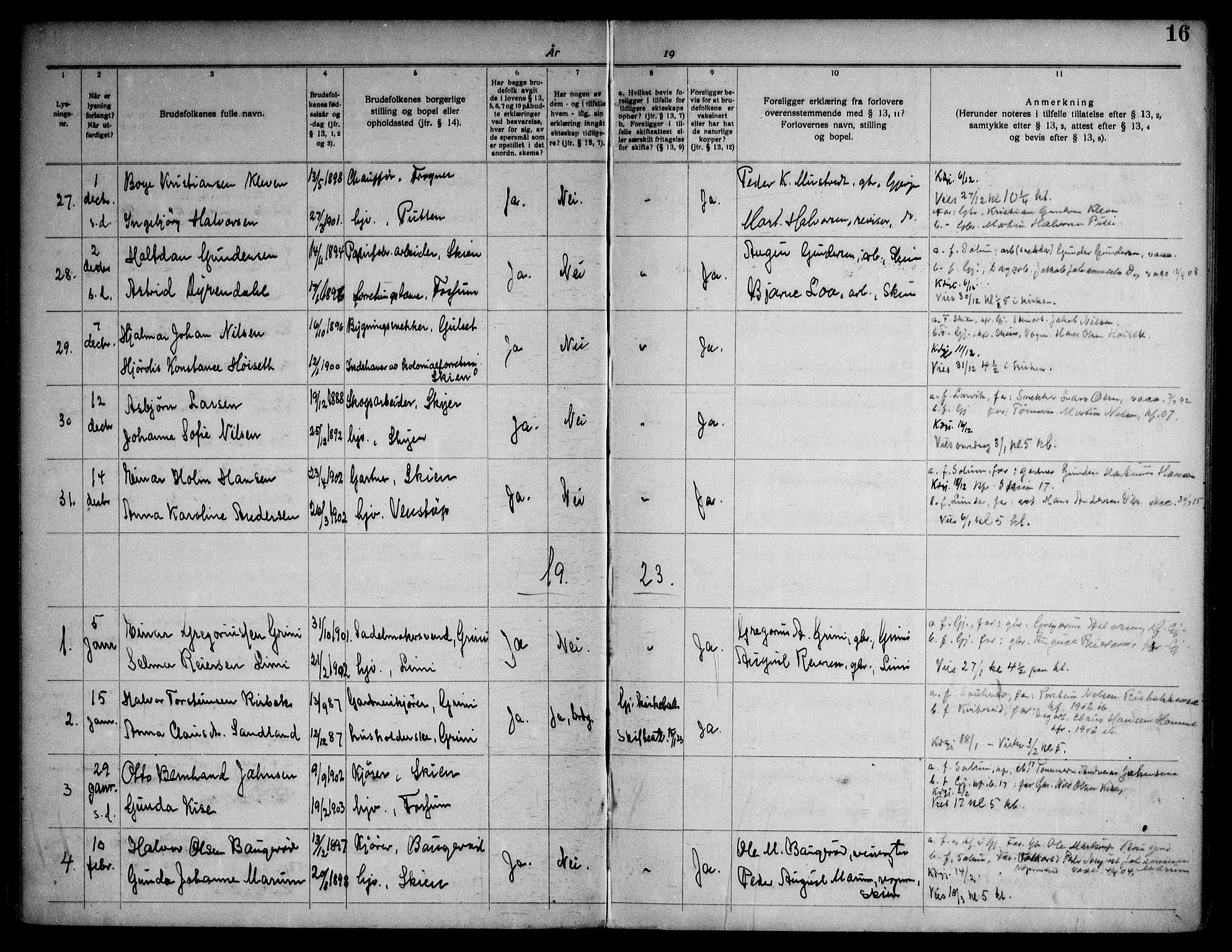 SAKO, Gjerpen kirkebøker, H/Ha/L0003: Lysningsprotokoll nr. I 3, 1919-1946, s. 16