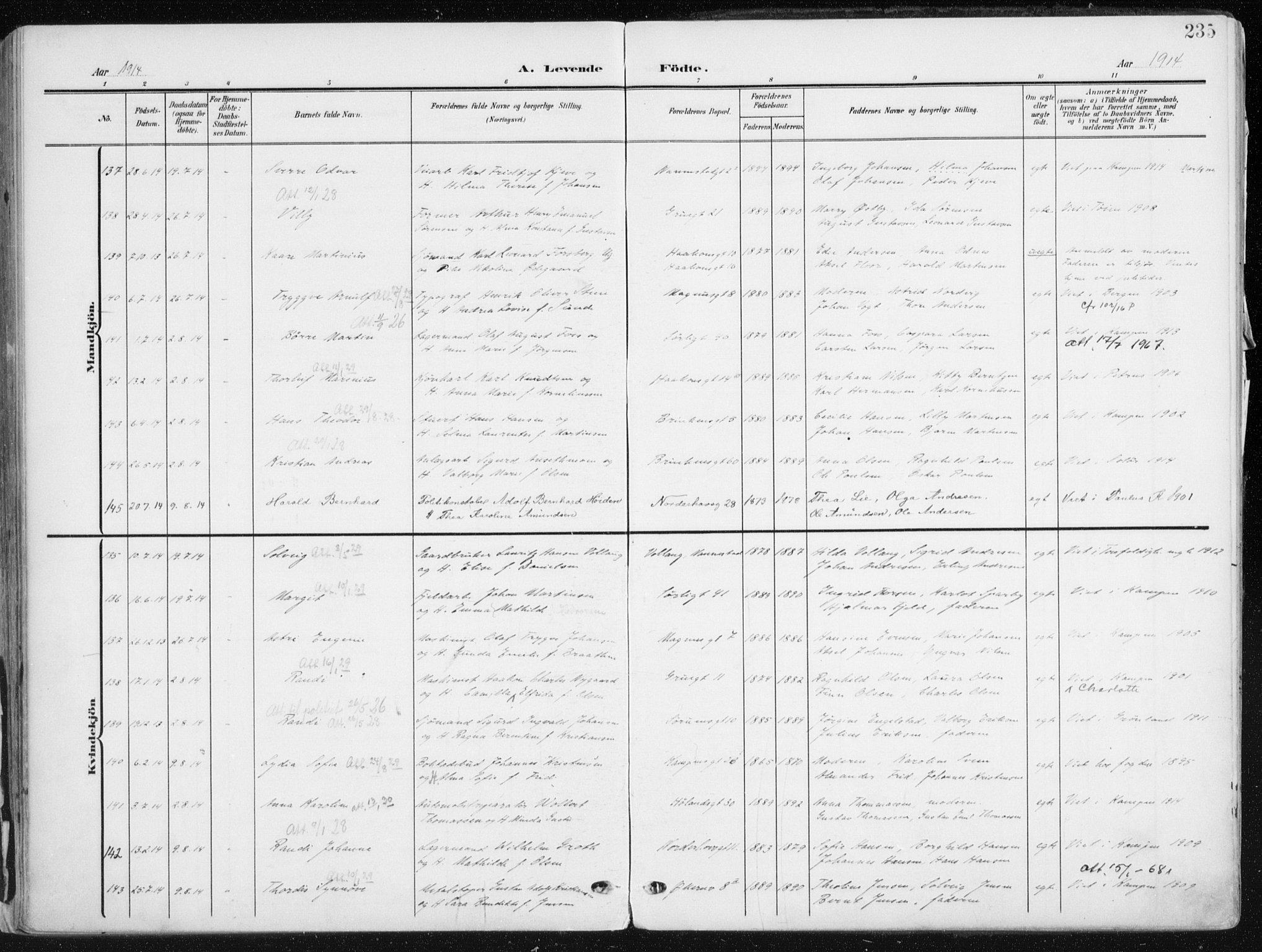SAO, Kampen prestekontor Kirkebøker, F/Fa/L0010: Ministerialbok nr. I 10, 1905-1917, s. 235