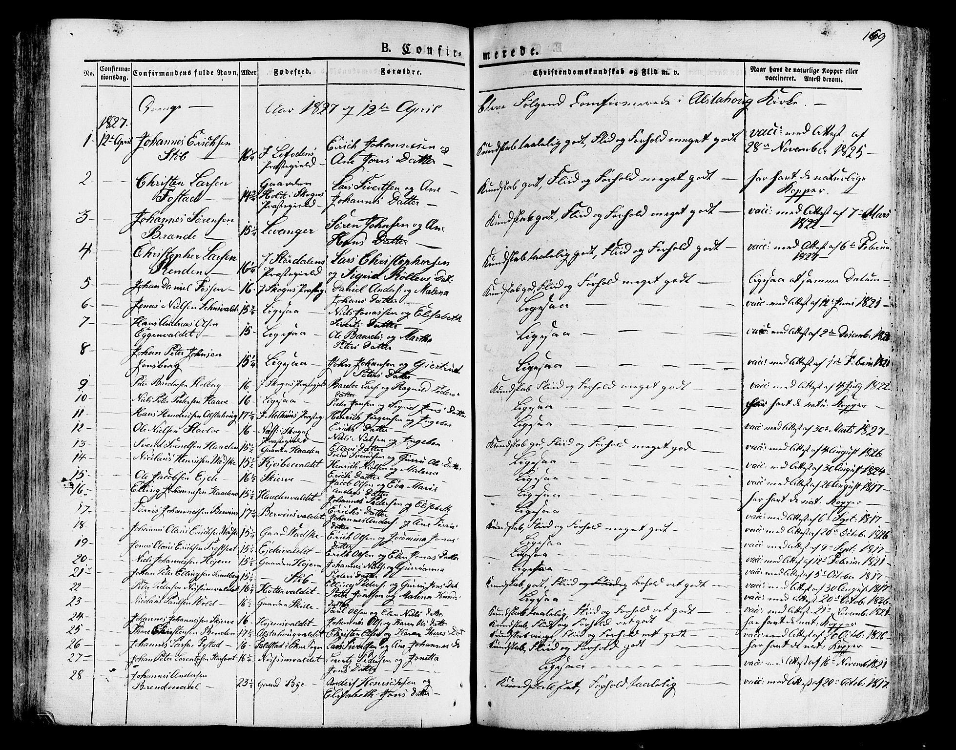 SAT, Ministerialprotokoller, klokkerbøker og fødselsregistre - Nord-Trøndelag, 717/L0152: Ministerialbok nr. 717A05 /1, 1825-1836, s. 169