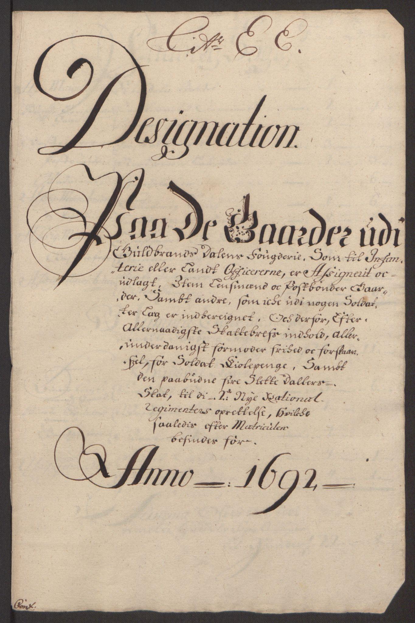 RA, Rentekammeret inntil 1814, Reviderte regnskaper, Fogderegnskap, R17/L1166: Fogderegnskap Gudbrandsdal, 1690-1692, s. 97