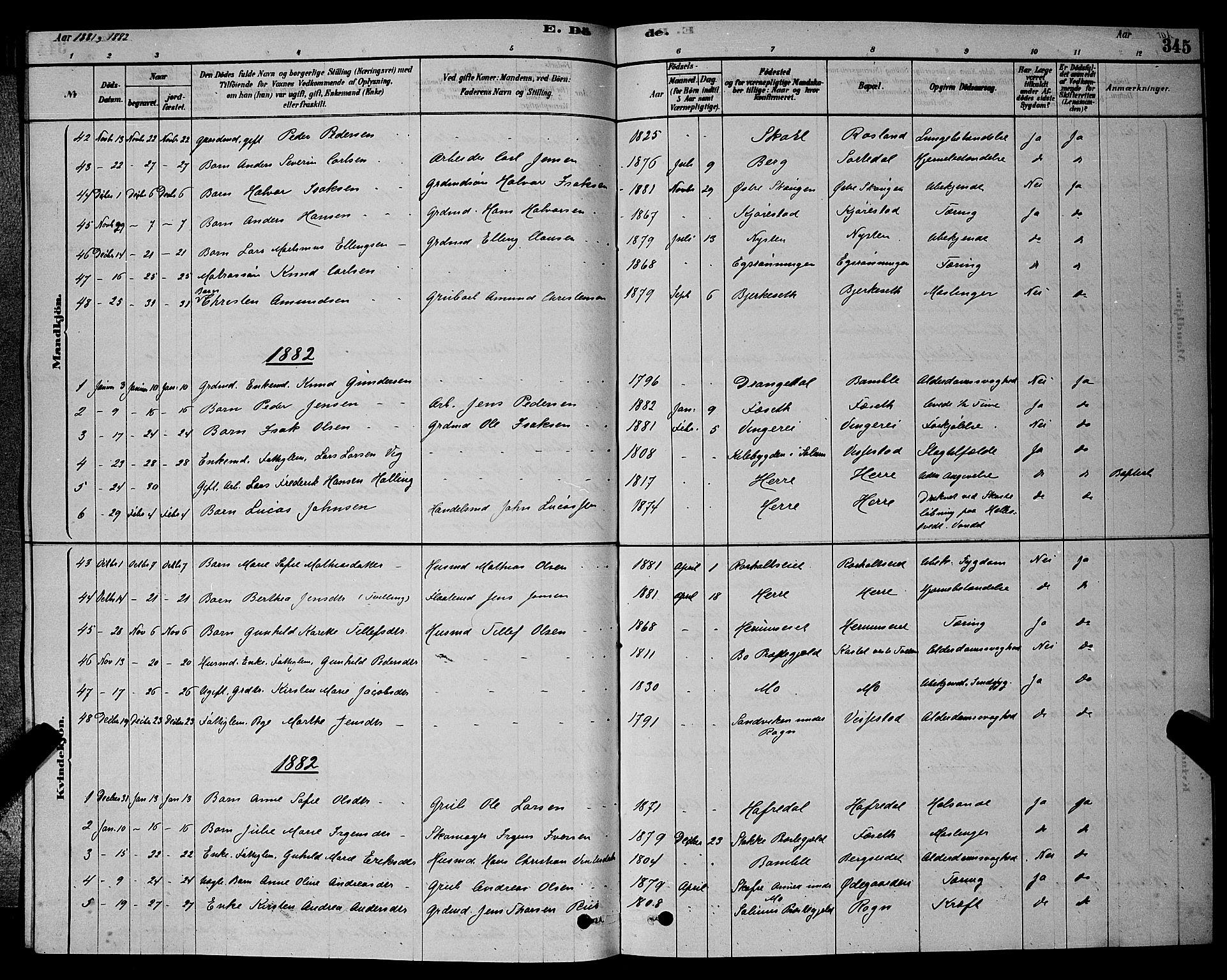 SAKO, Bamble kirkebøker, G/Ga/L0008: Klokkerbok nr. I 8, 1878-1888, s. 345