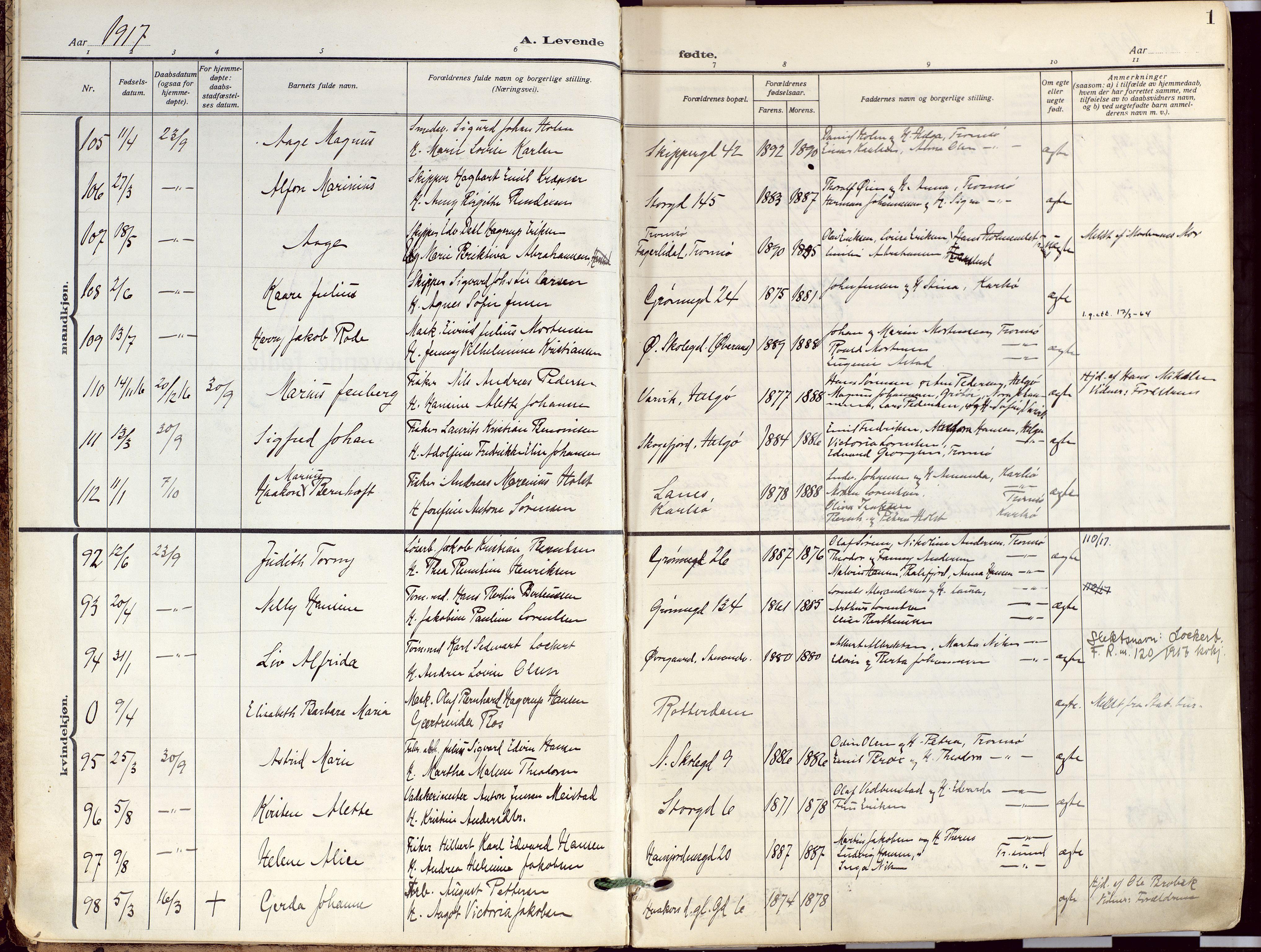 SATØ, Tromsø sokneprestkontor/stiftsprosti/domprosti, G/Ga/L0019kirke: Ministerialbok nr. 19, 1917-1927, s. 1