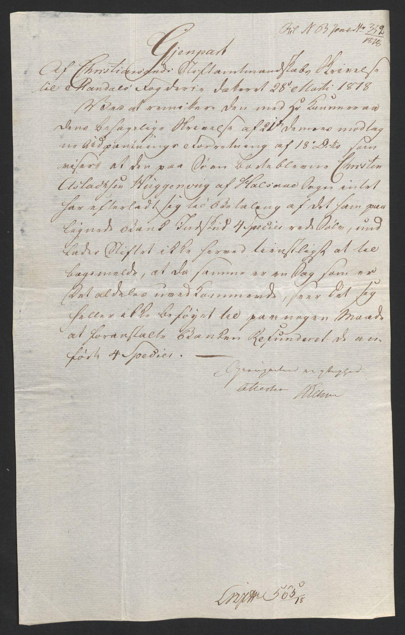 NOBA, Norges Bank/Sølvskatten 1816*, 1816-1822, s. 62