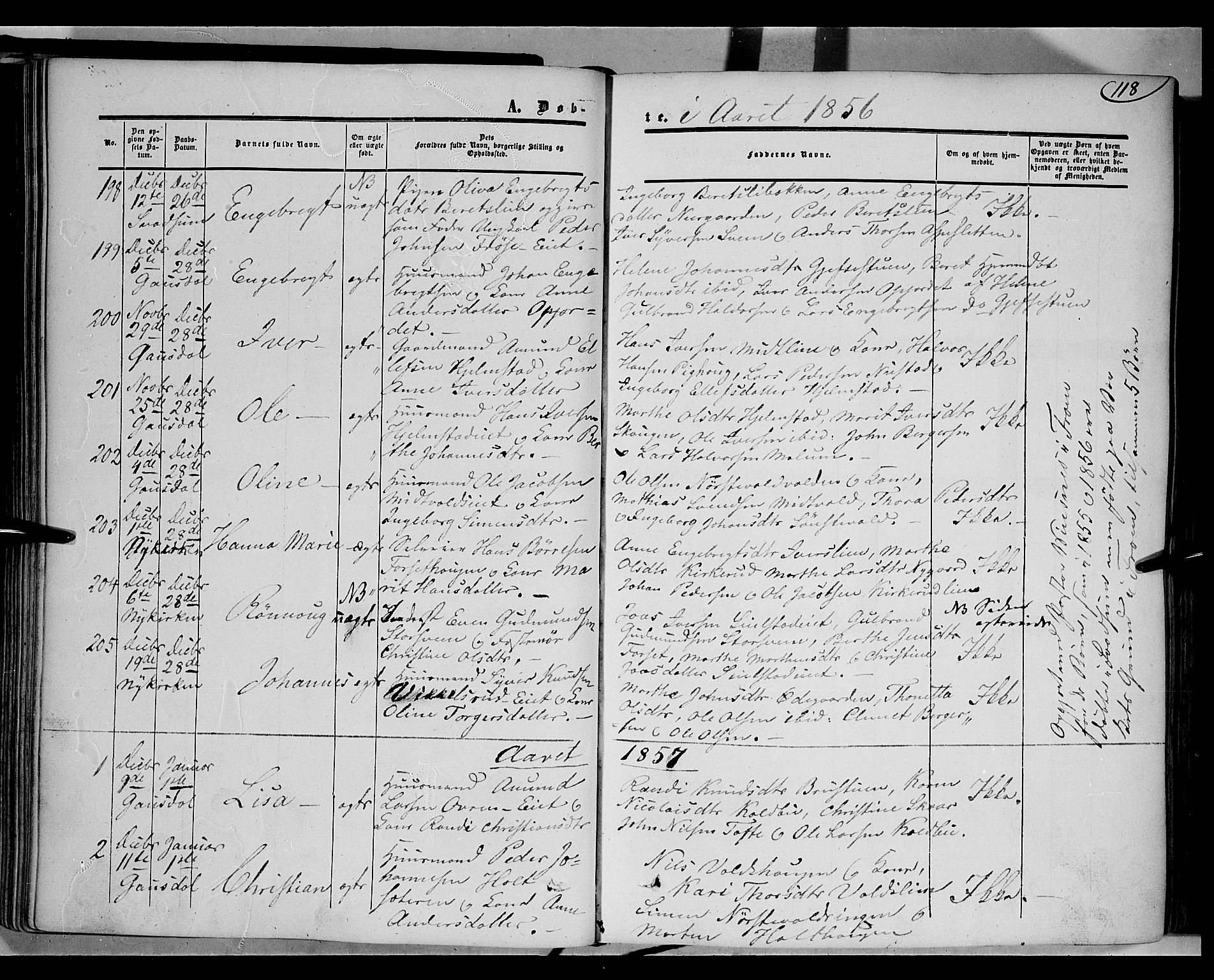 SAH, Gausdal prestekontor, Ministerialbok nr. 8, 1850-1861, s. 118