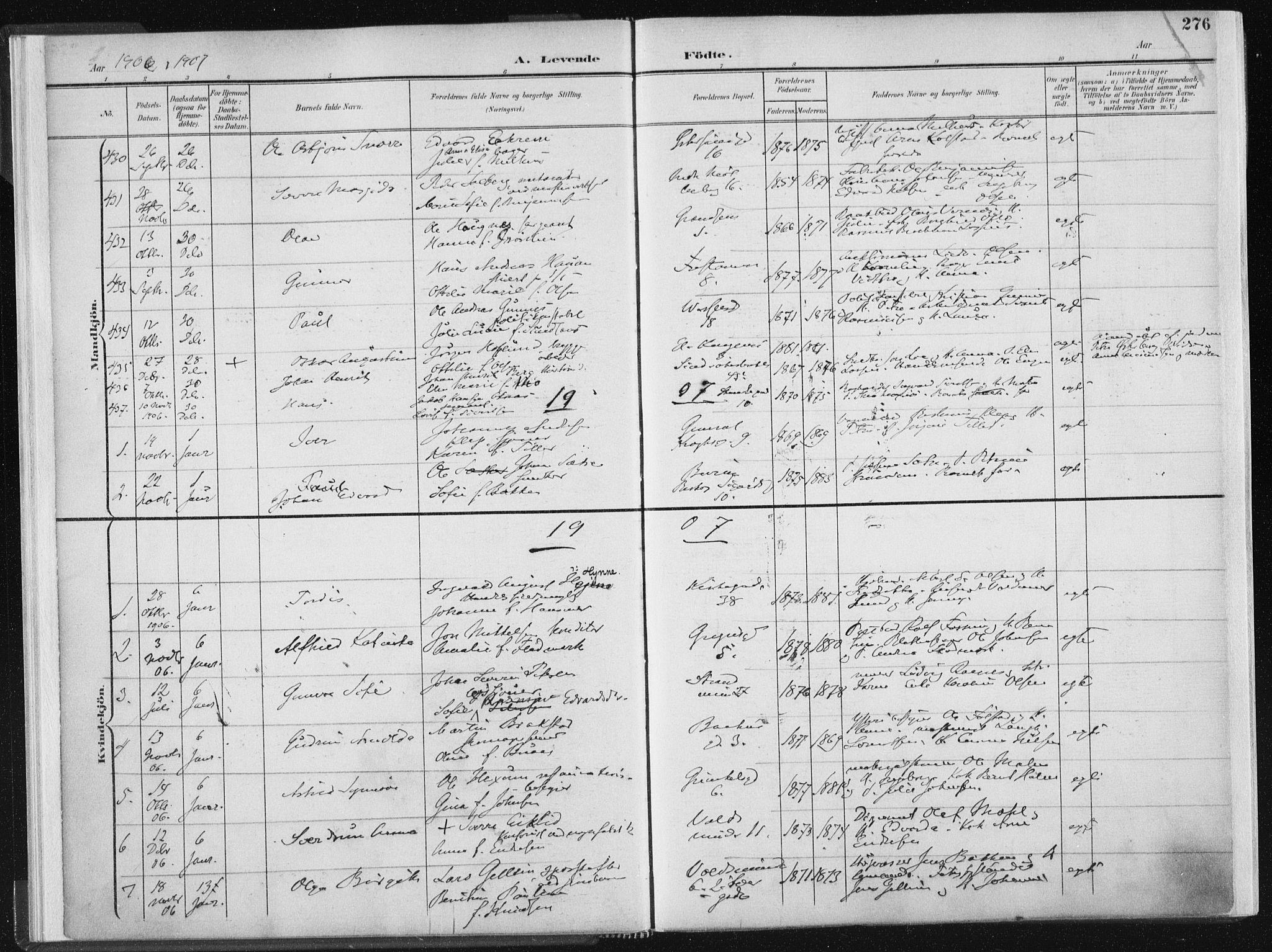 SAT, Ministerialprotokoller, klokkerbøker og fødselsregistre - Sør-Trøndelag, 604/L0200: Ministerialbok nr. 604A20II, 1901-1908, s. 276