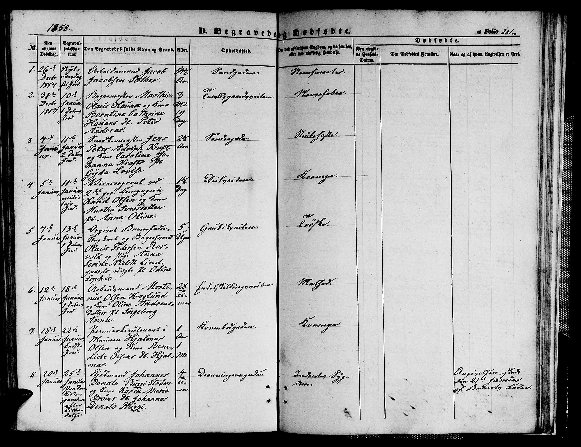 SAT, Ministerialprotokoller, klokkerbøker og fødselsregistre - Sør-Trøndelag, 602/L0138: Klokkerbok nr. 602C06, 1853-1858, s. 281