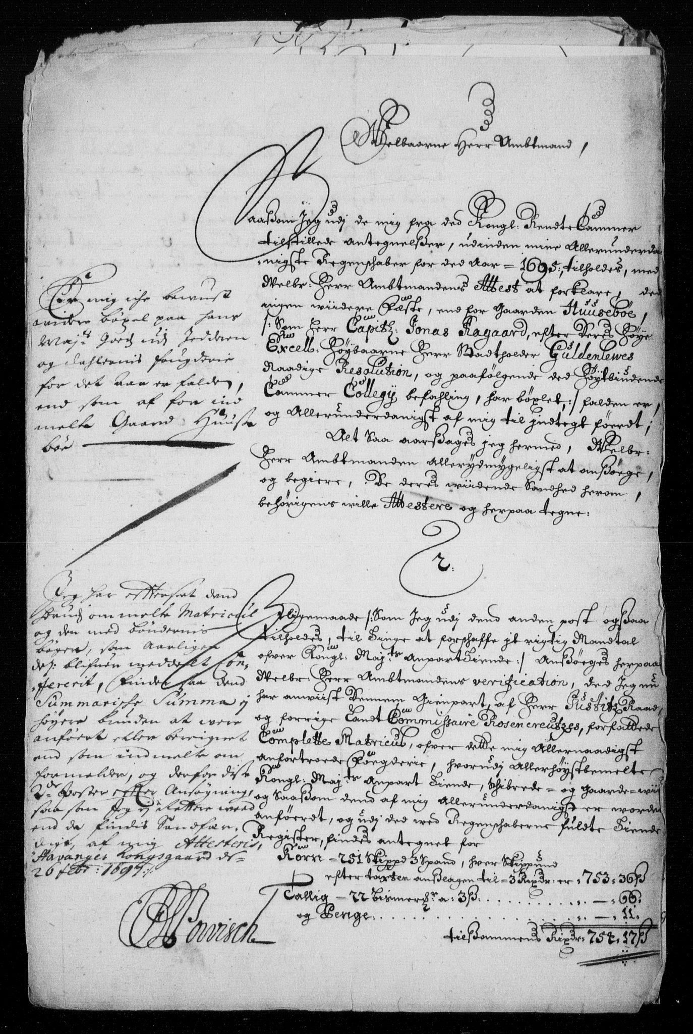 RA, Rentekammeret inntil 1814, Reviderte regnskaper, Fogderegnskap, R46/L2728: Fogderegnskap Jæren og Dalane, 1694-1696, s. 374