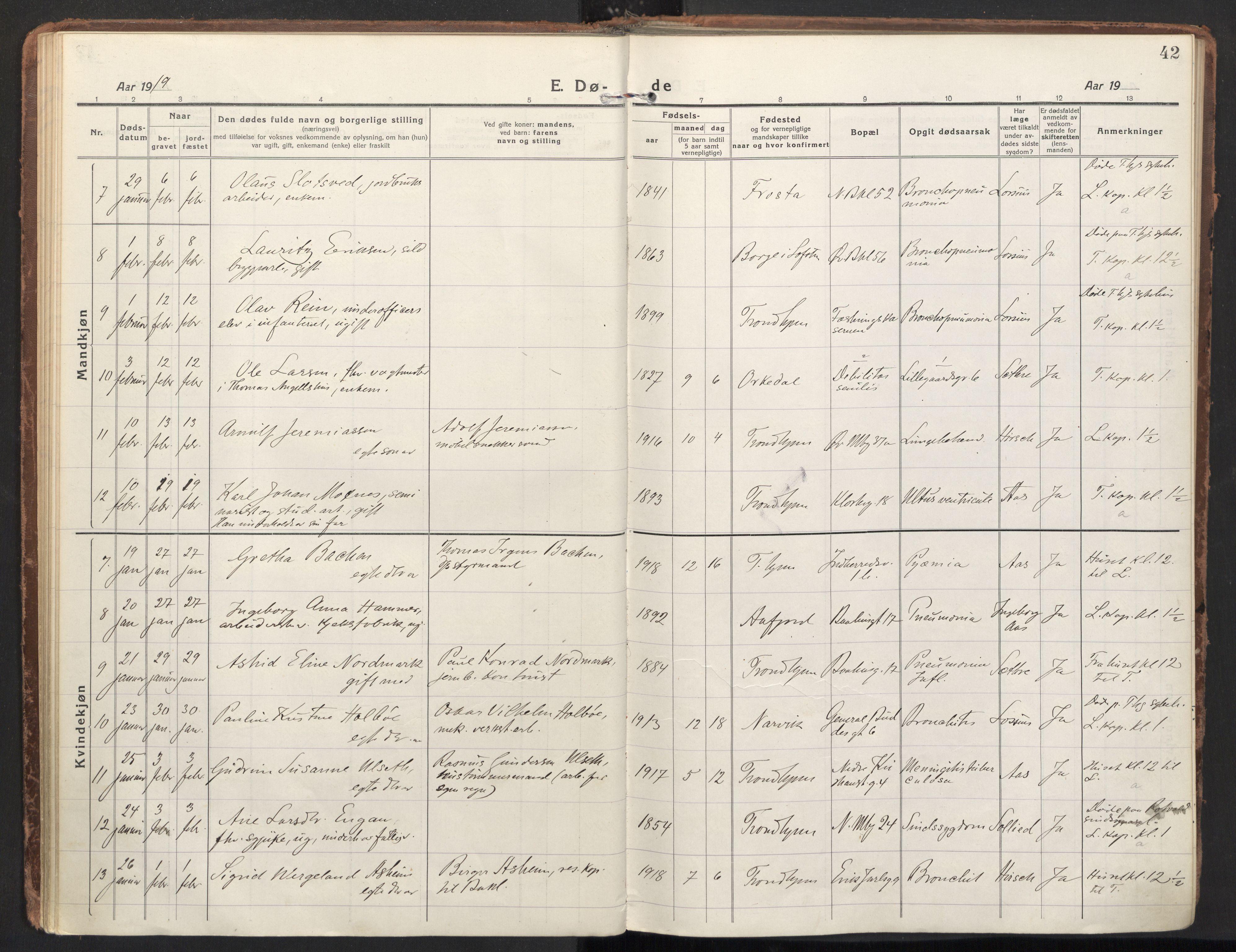 SAT, Ministerialprotokoller, klokkerbøker og fødselsregistre - Sør-Trøndelag, 604/L0207: Ministerialbok nr. 604A27, 1917-1933, s. 42
